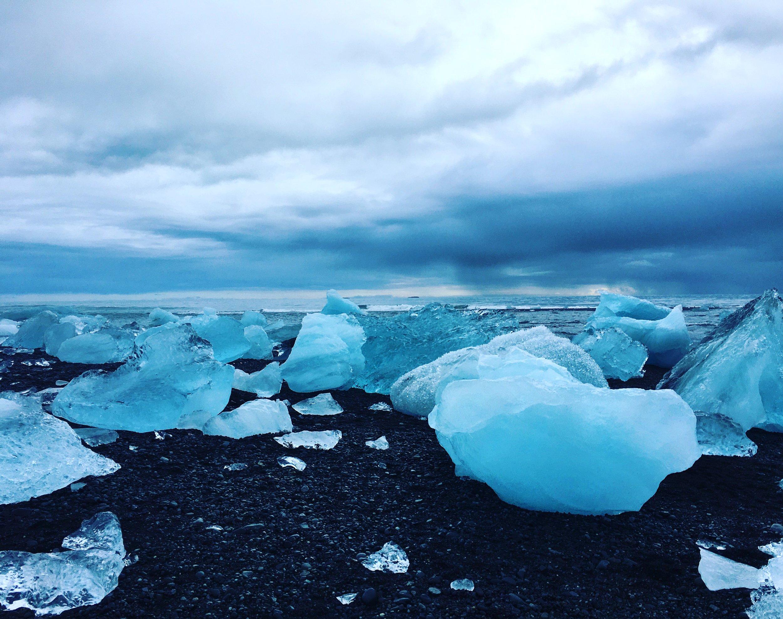 Icebergs on the black sand Ice beach