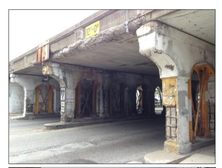 Crumbling viaduct along the CTA Red Line Tracks, not world class
