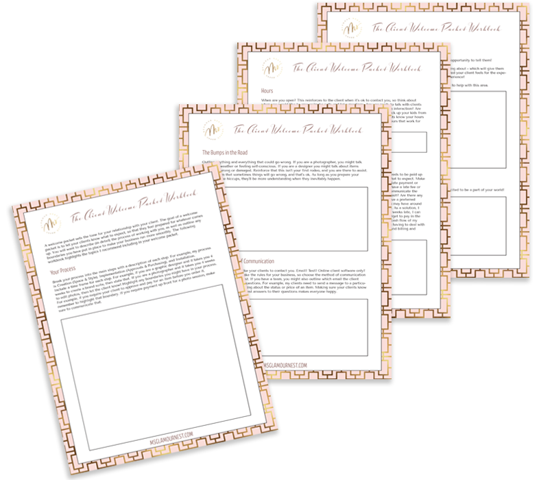 Interior design client welcome packet workbook | Ms. Glamour Nest