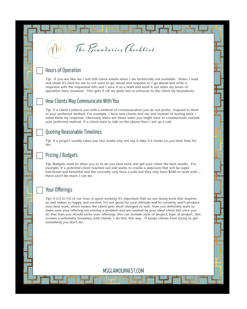 Interior design business boundaries checklist | Ms. Glamour Nest