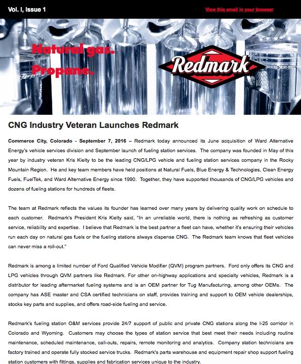 Redmark CNG E-News: Vol. I, Issue 1