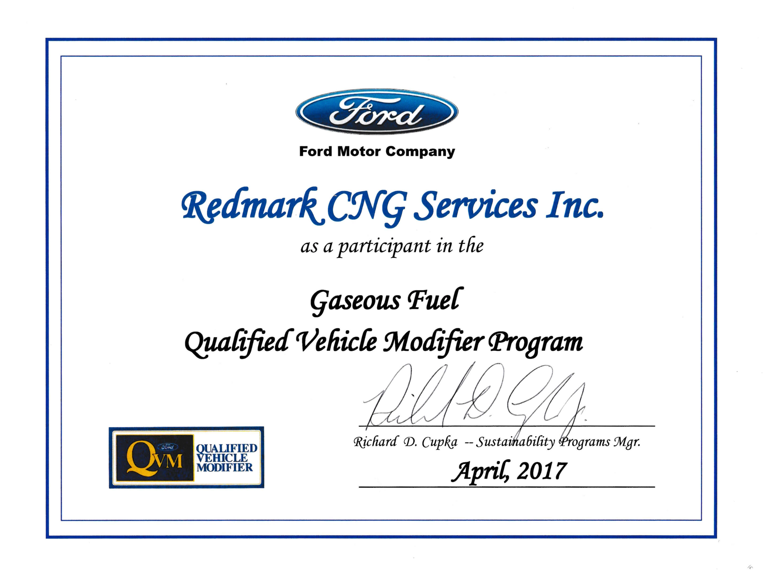 Redmark is an approved participant through the Ford Qualified Vehicle Modifier Program!