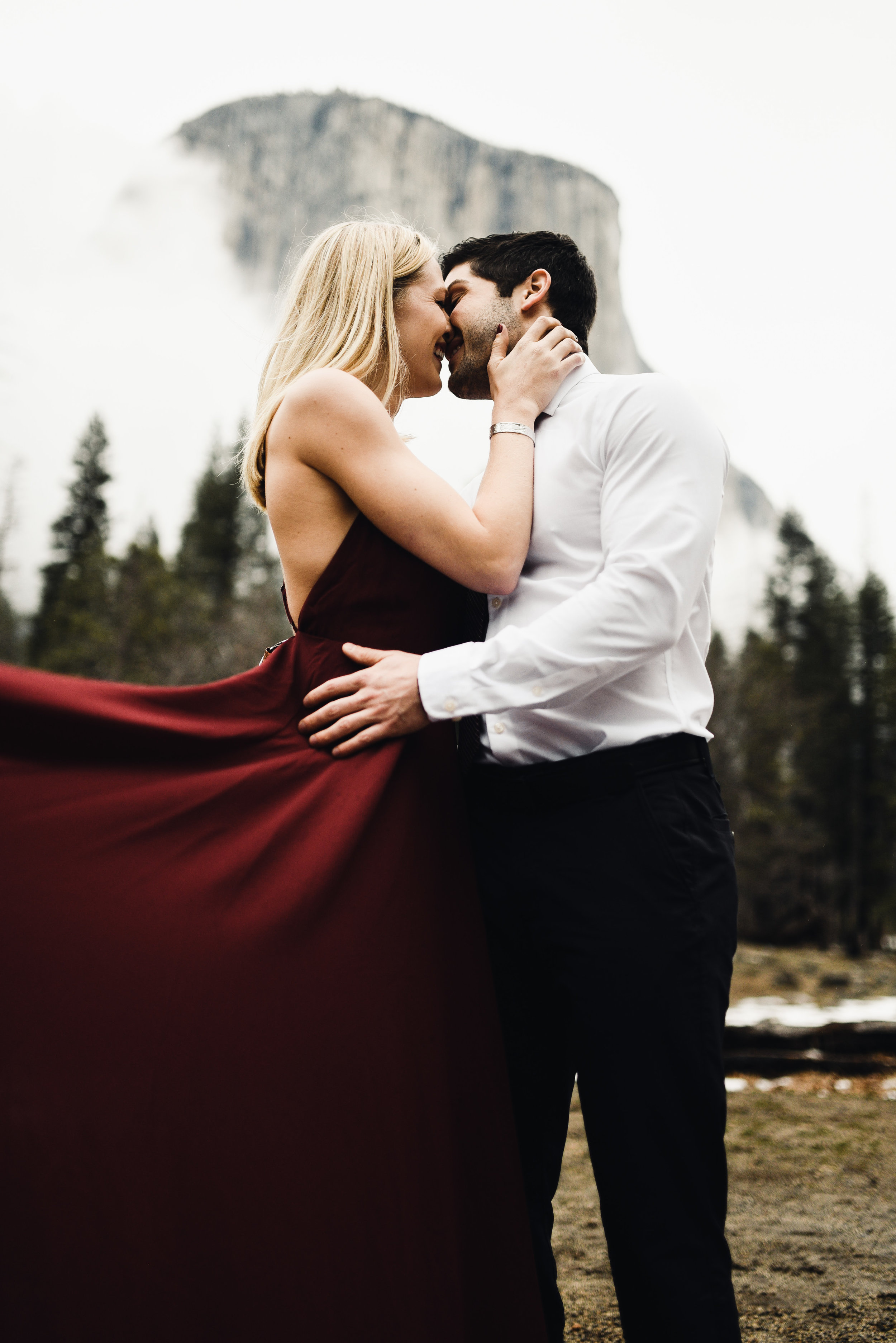 """""""Dress like you're going to a fancy wedding then we'll hike out into Yosemite and take engagement pictures."""" What better way to accentuate such an epic backdrop but with some snazzy duds? This ensures we got some framers!"""