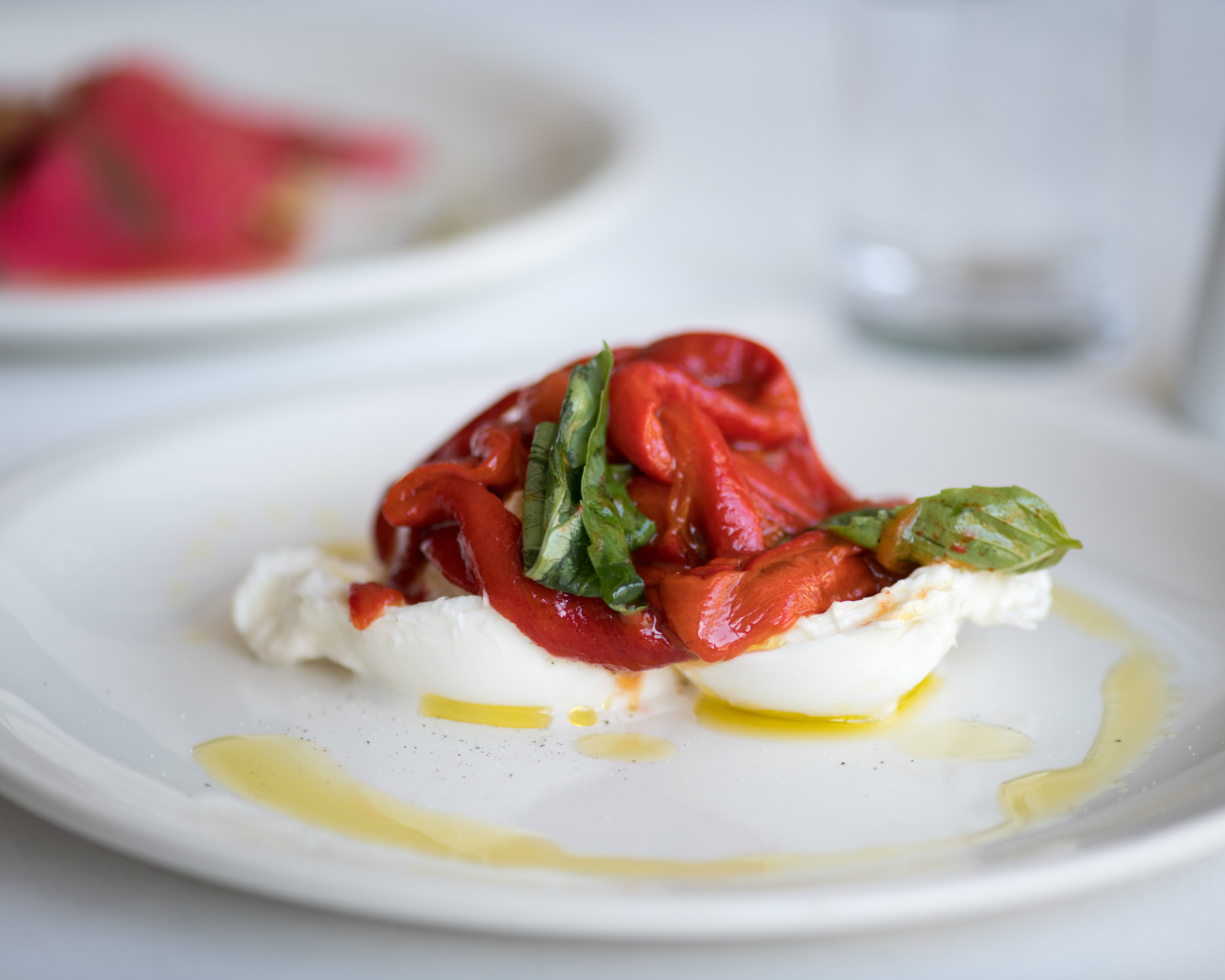 Burrata, with romano peppers and basil.