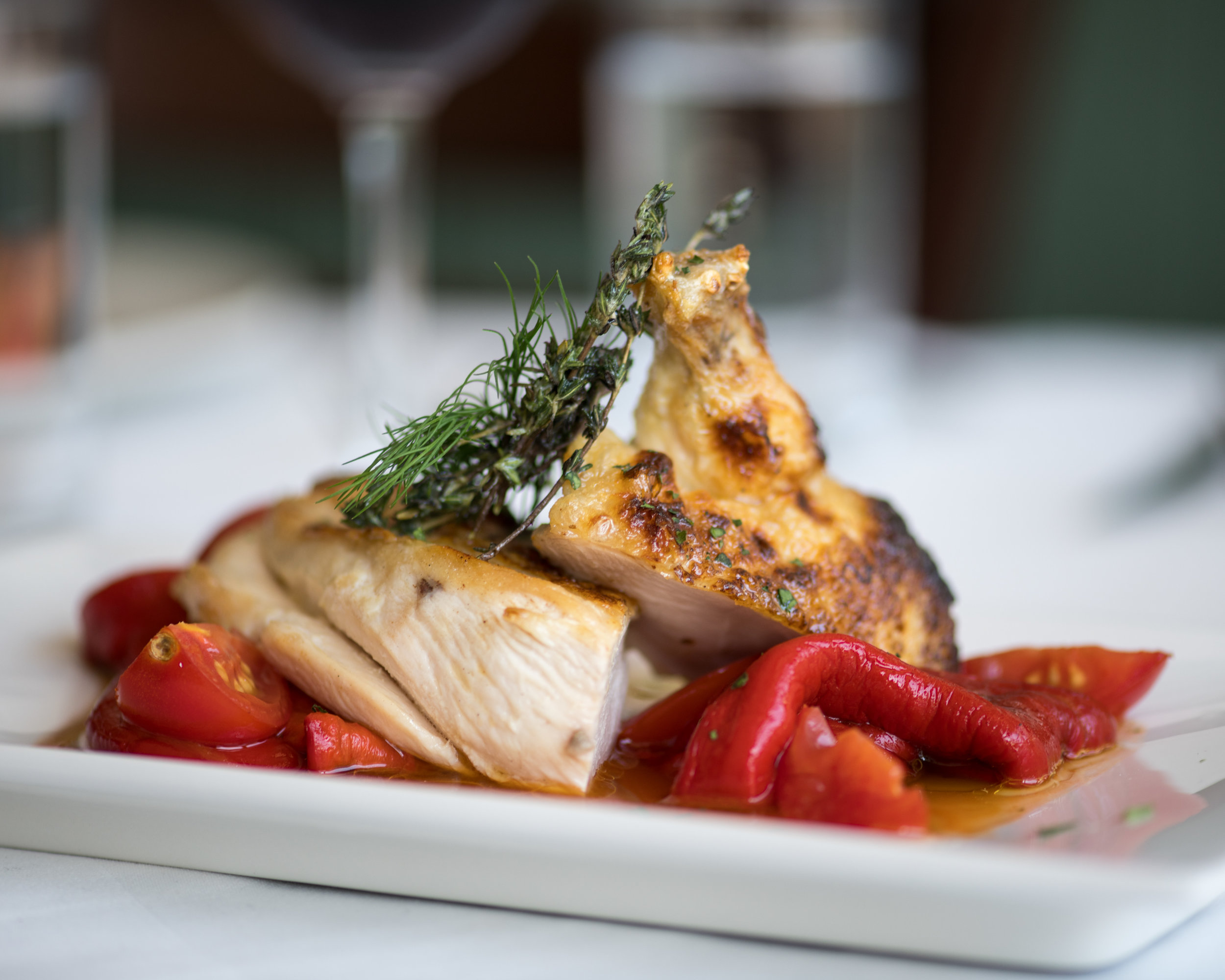 Chicken Breast, with romano peppers and cherry tomatoes.