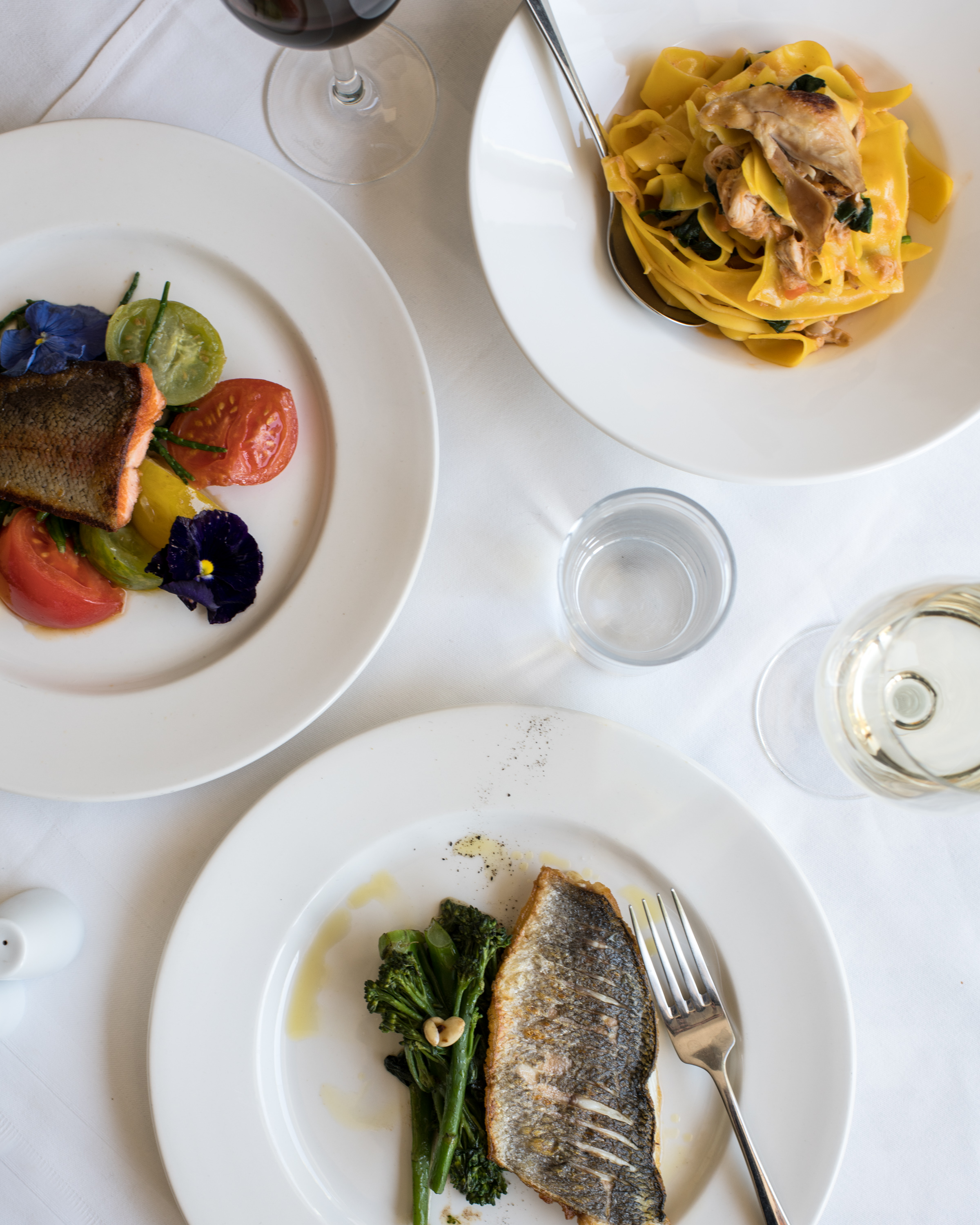 Some of our Mains (from the bottom): Sea Bream, Sea Trout, Pappardelle Rabbit.