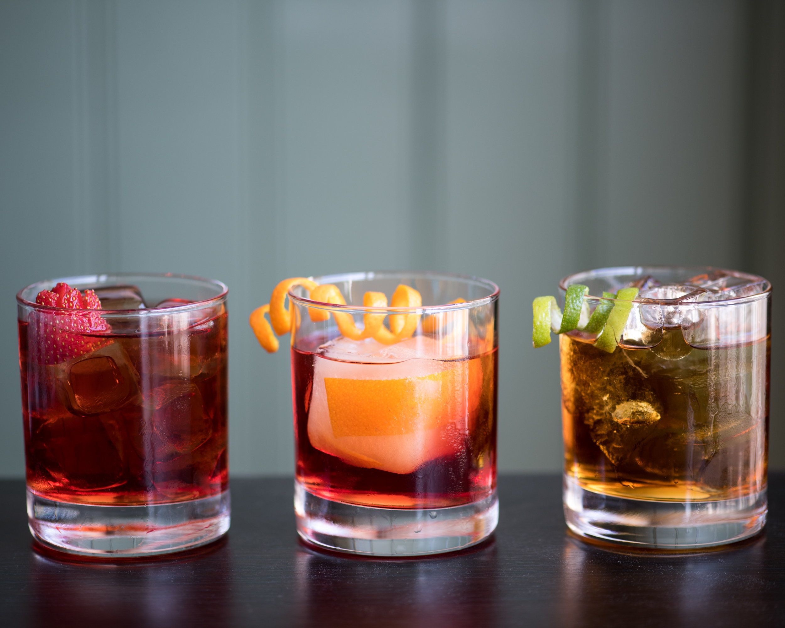 Some of our Negronis (from the left and side): Mediterranean Negroni, Aged Negroni and Negramaro.