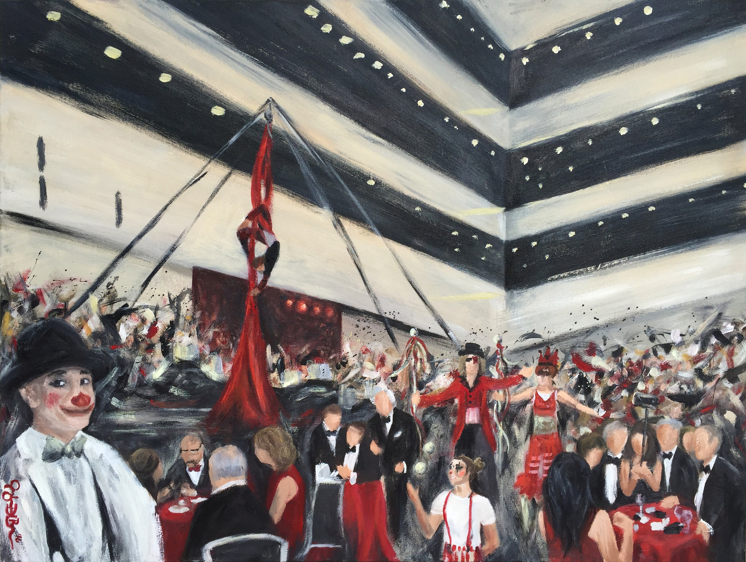 Completed Live Event Painting - Cleveland AHA Heart & Stroke Ball 2016 by Cleveland Event Painter Jacqueline DelBrocco