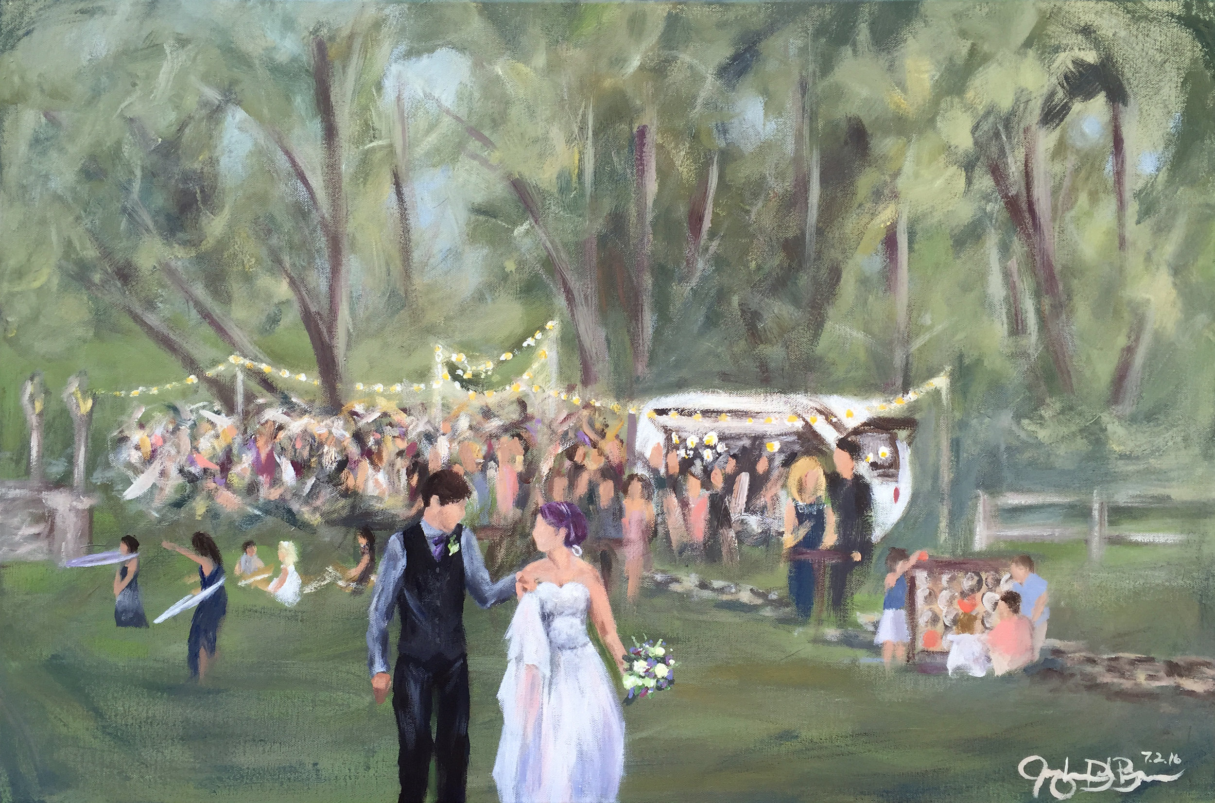 The completed live wedding painting - A unique and special wedding gift capturing the memory of a truly magical day!