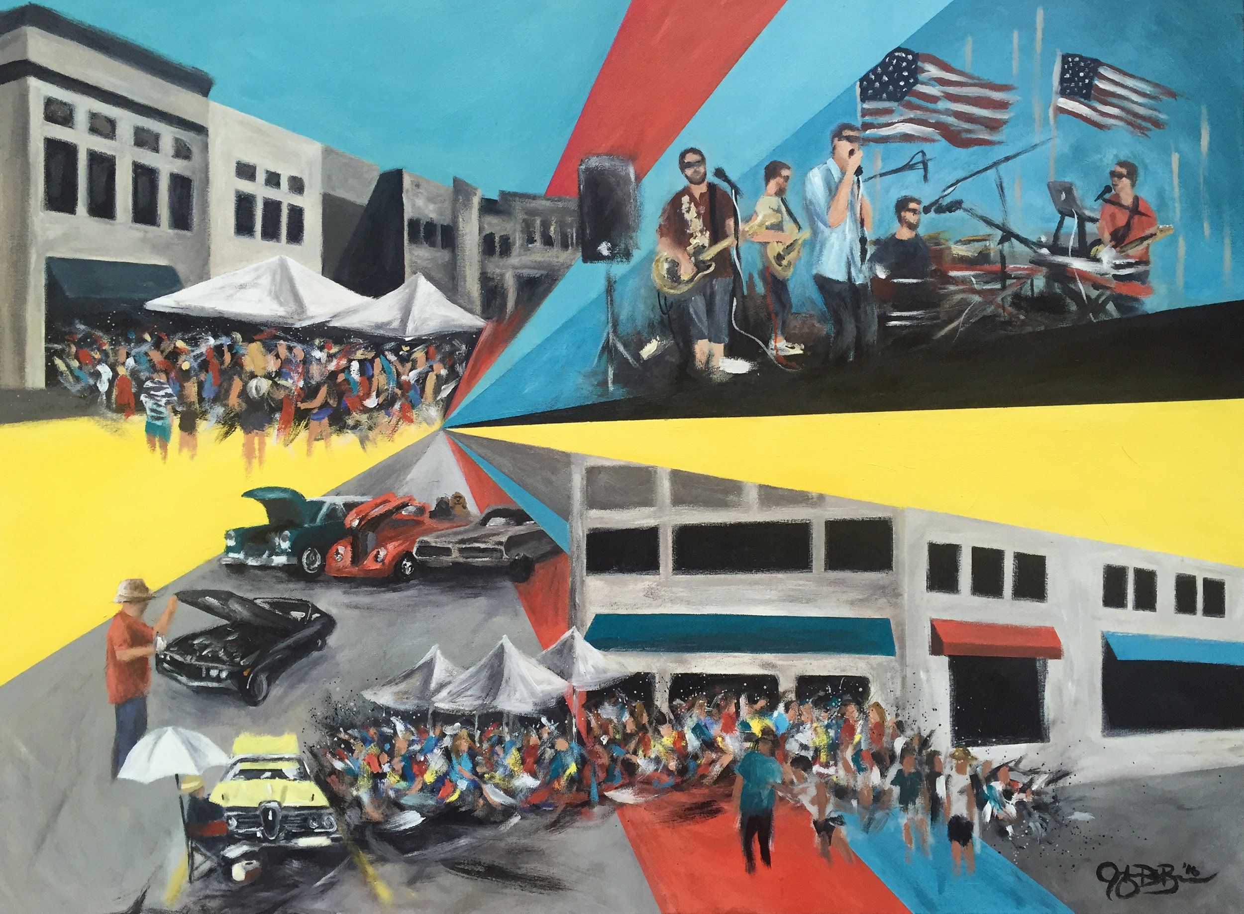 Completed live event painting - Cruisin' for Heroes: Perk-cUP! Cafe's 5 Year Anniversary Celebration