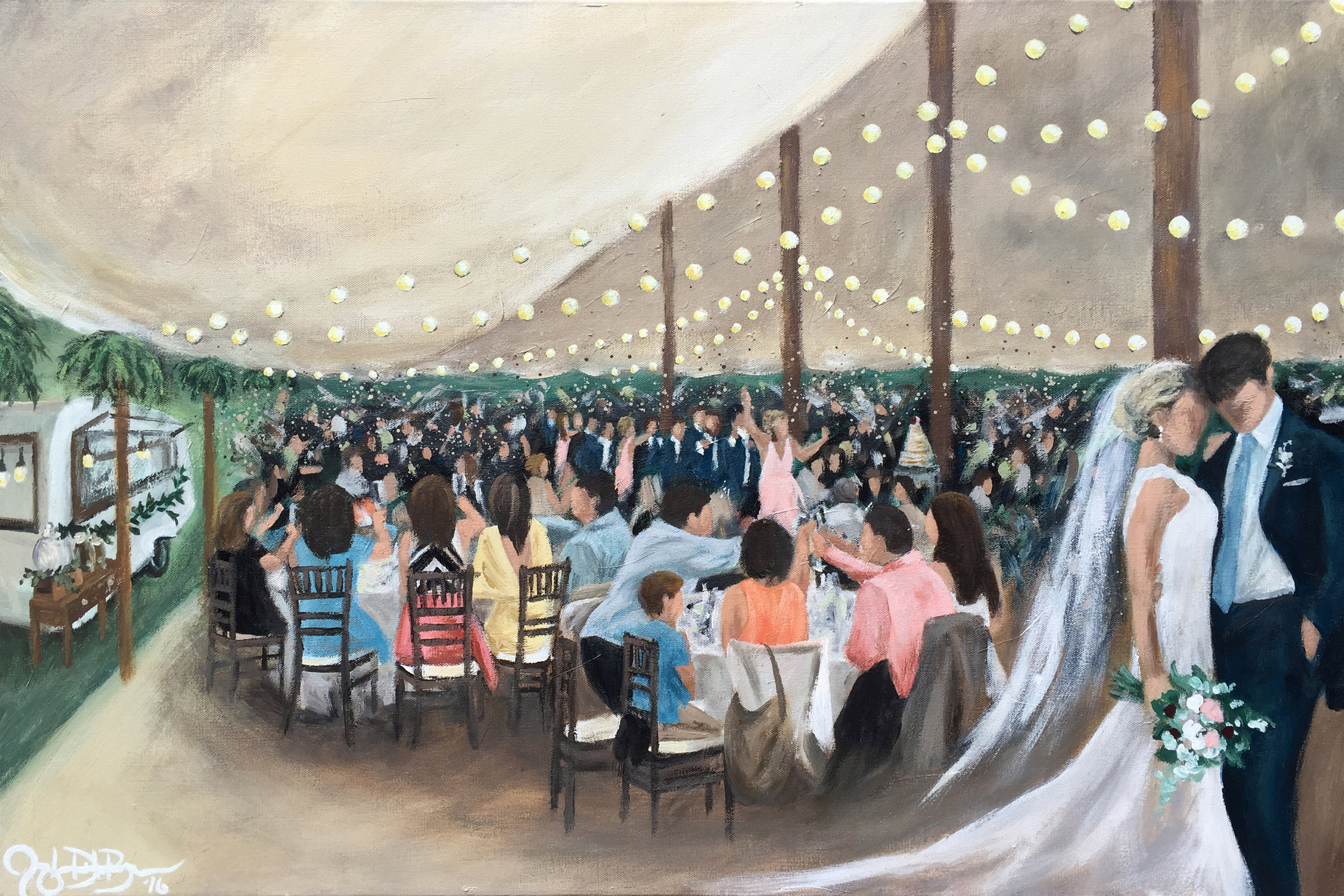 Live Wedding Painting // Jacqueline DelBrocco // Acrylic on 24x36in Canvas // August 2016