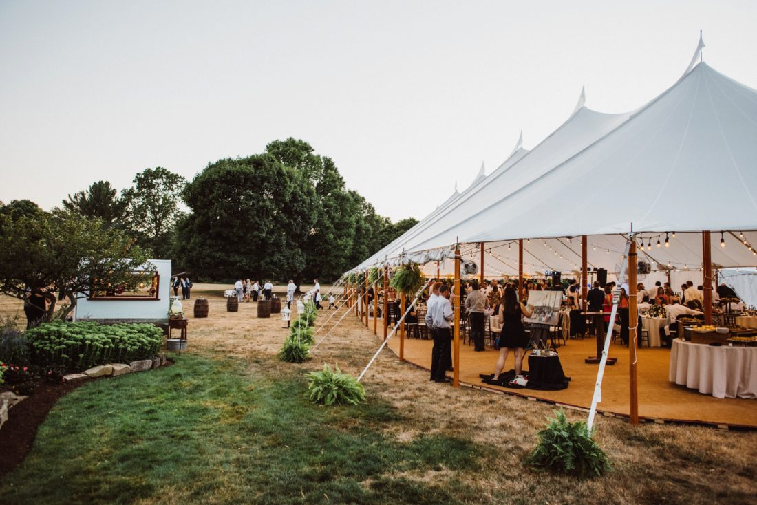 The wedding reception from a step back - You can see where I was set up to capture the live painting under the tent,far back enough to get a nice perspective of the whole celebration but close enough for guests to watch me paint