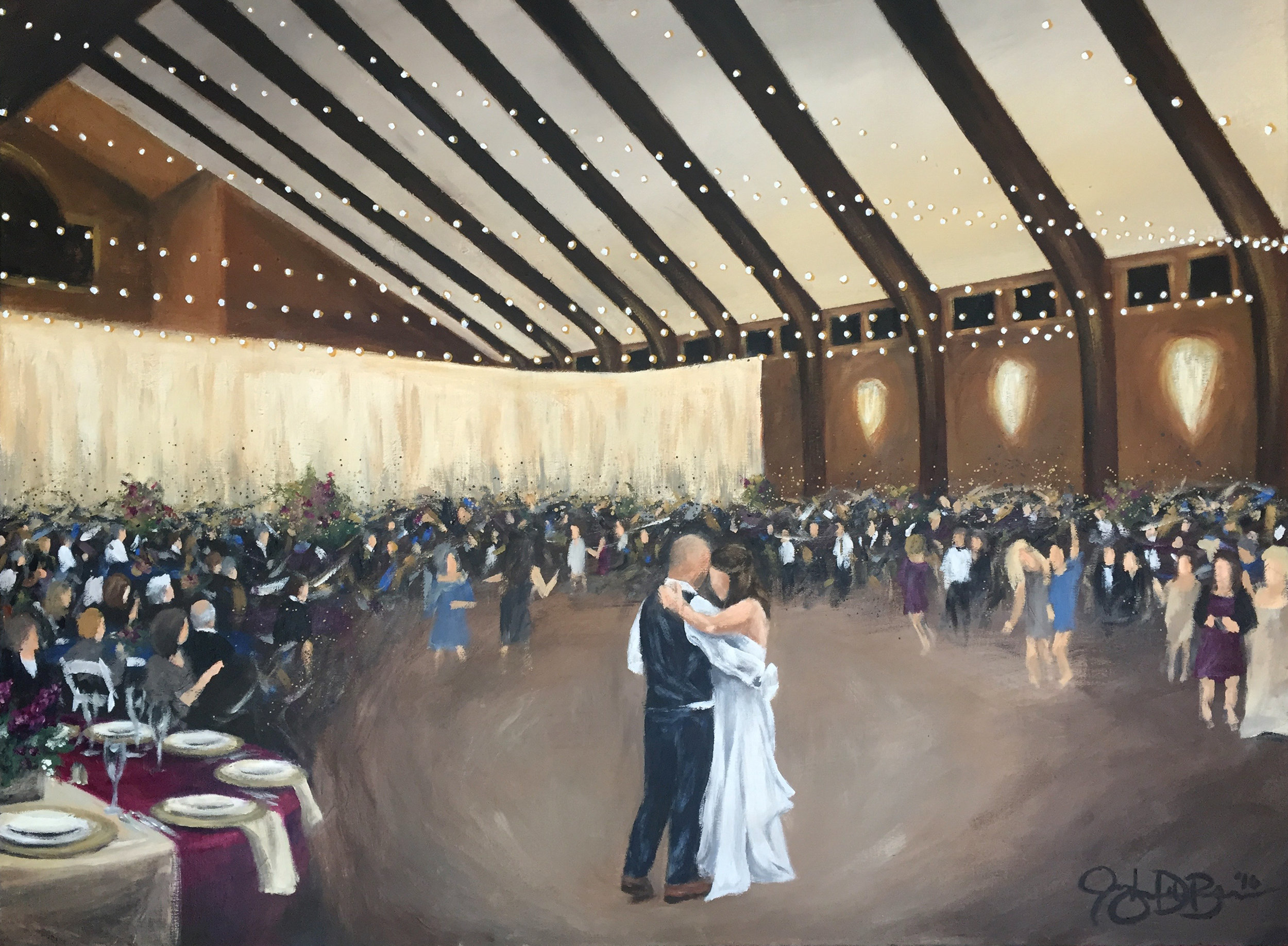 Live Wedding Painting // Irongate Equestrian Center // 36x48in acrylic on canvas //Cleveland Event Painter, Jacqueline DelBrocco