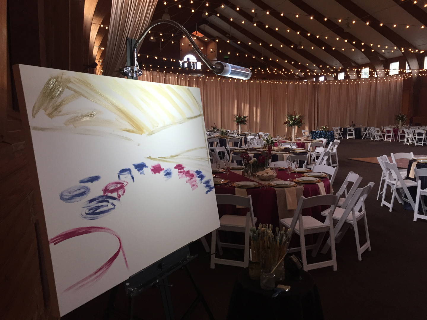First brush strokes on the canvas, figuring out the composition just before guests arrive ...