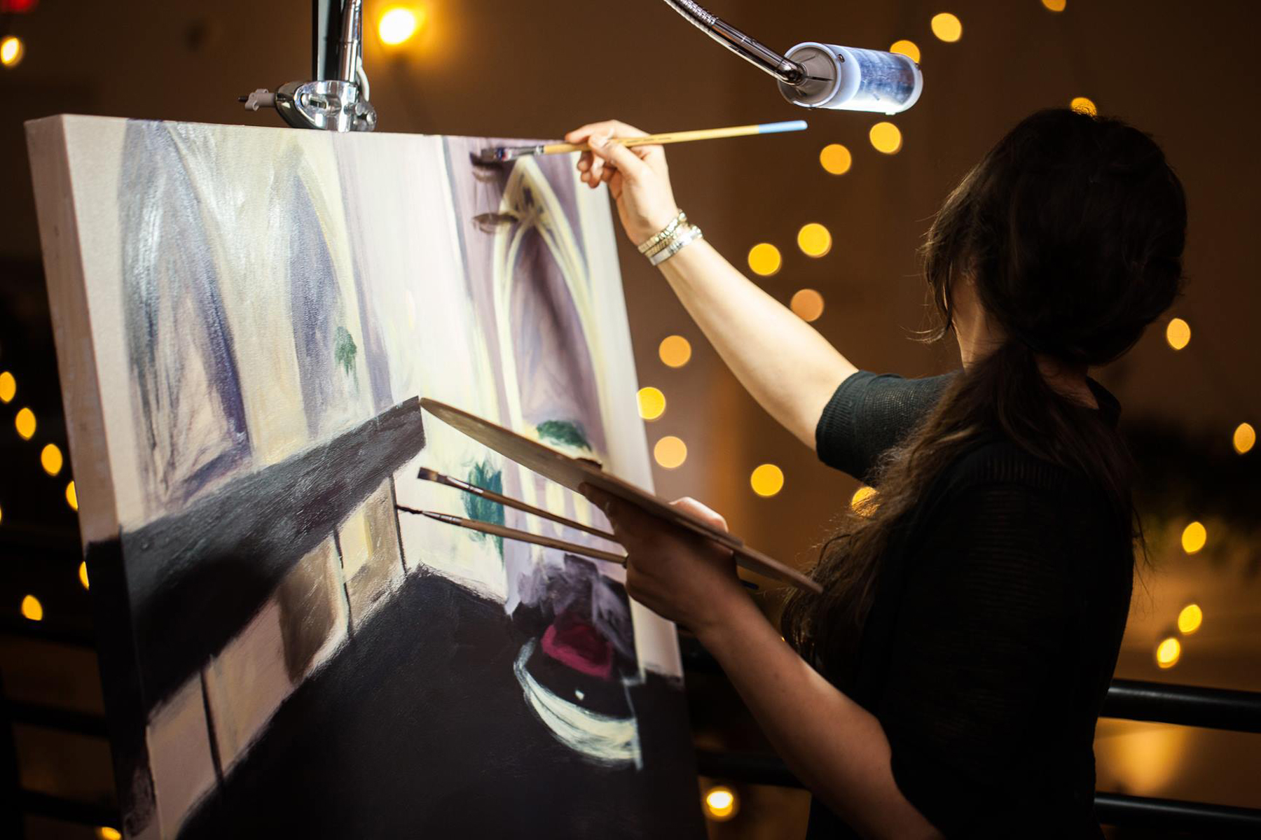 Live Painting Progress // Photo Credit: Nathan Peel Photography   // Live Wedding Painting by Cleveland Event Painter Jacqueline DelBrocco