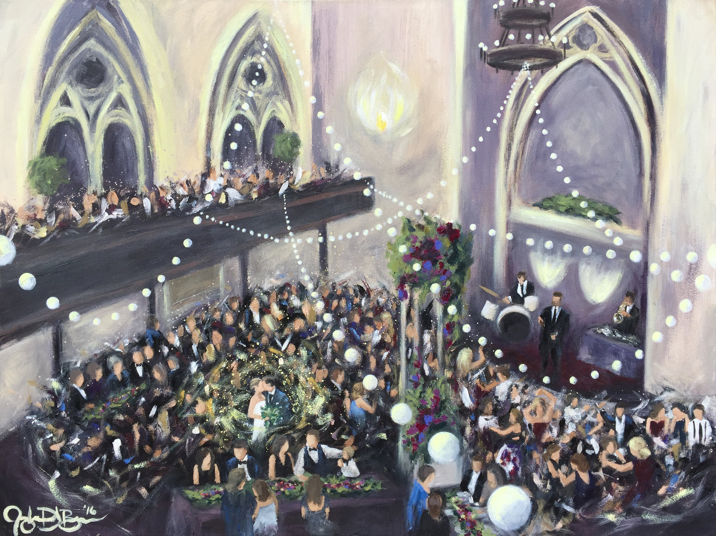 Completed 30x40in Live Wedding Painting painted at The Transept, Cincinnati, OH by Cleveland Event Painter Jacqueline DelBrocco