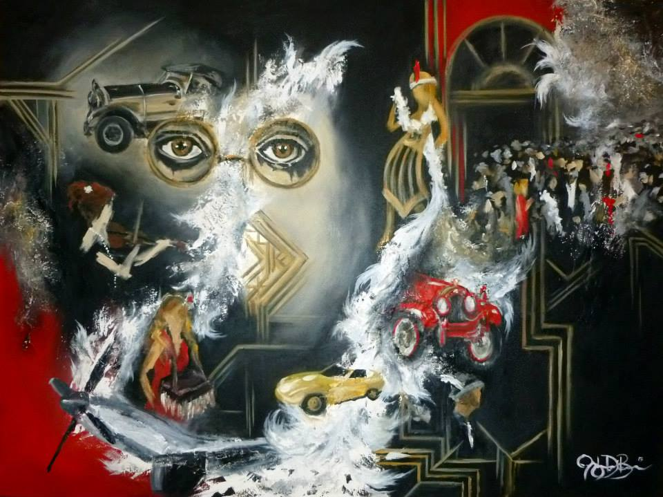 Live Event Painting by Cleveland Event Painter Jacqueline DelBrocco // 3x4ft acrylic on canvas // A Gatsby Gala, Cleveland OH 2013