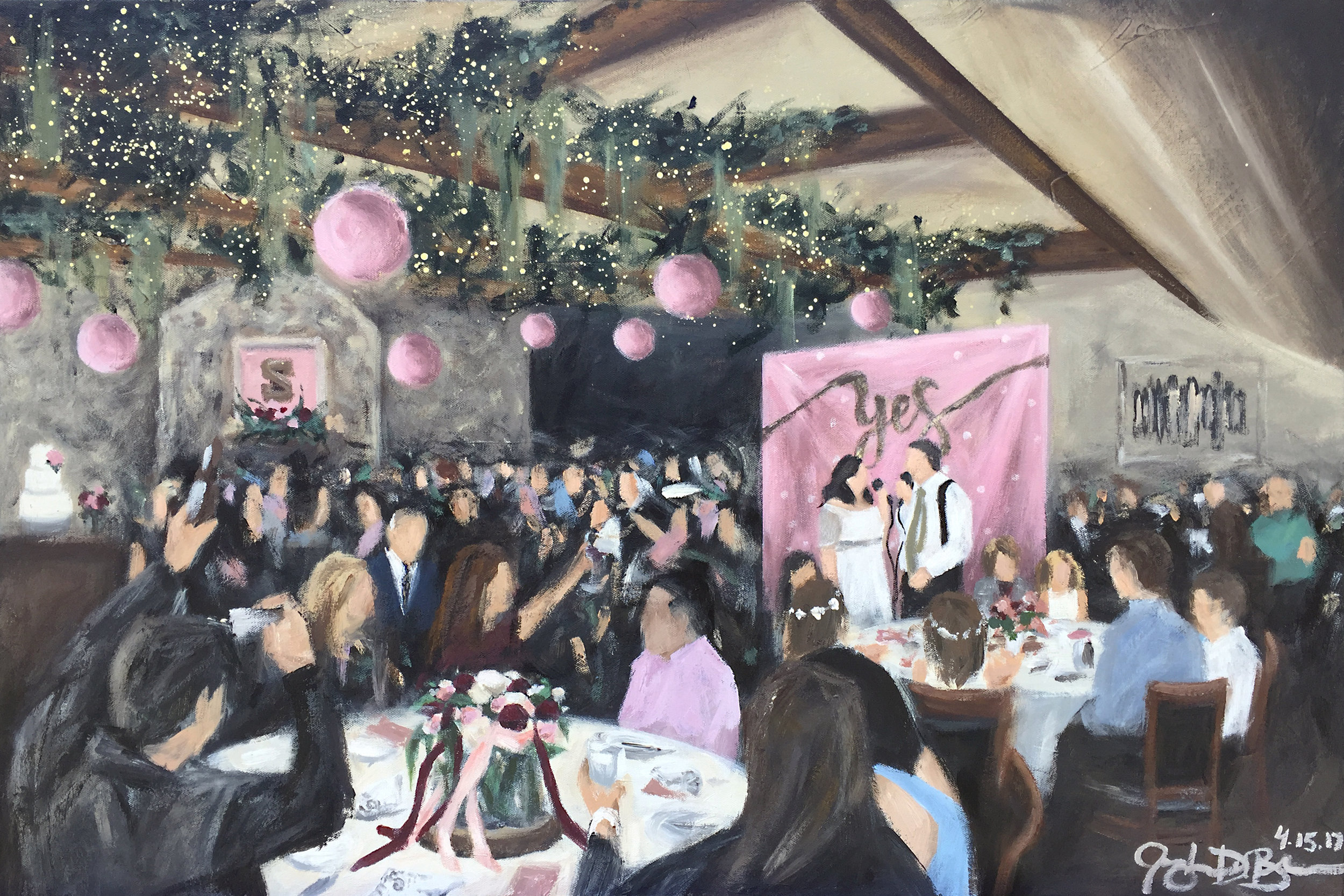 Live Wedding Painting // by Cleveland Event Painter Jacqueline DelBrocco // The Clifton Barn in Olde Avon Village, Avon, OH //24x36in acrylic on canvas