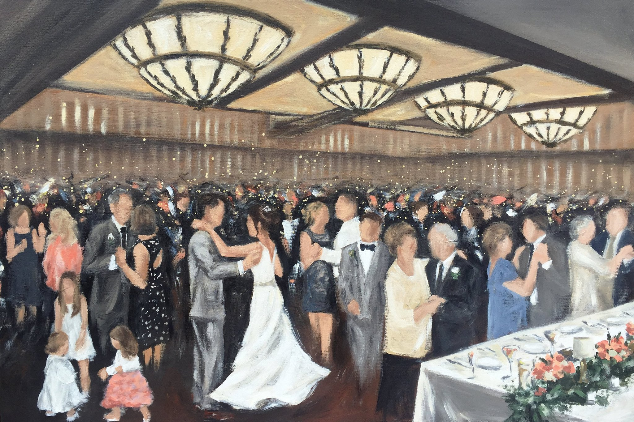 Live Wedding Painting by Cleveland Event Painter Jacqueline DelBrocco // 24x36in acrylic on canvas // Cleveland, OH // 2017