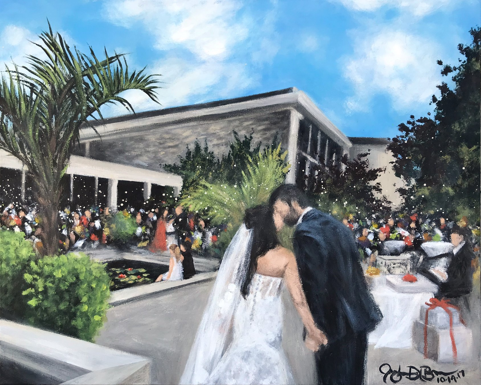 Live Wedding Painting // by Cleveland Event Painter Jacqueline DelBrocco // Cleveland Botanical Garden  //Cleveland, OH //24x30in acrylic on canvas // Source photo cred for bride and groom portrait: Catherine McKinley Photography