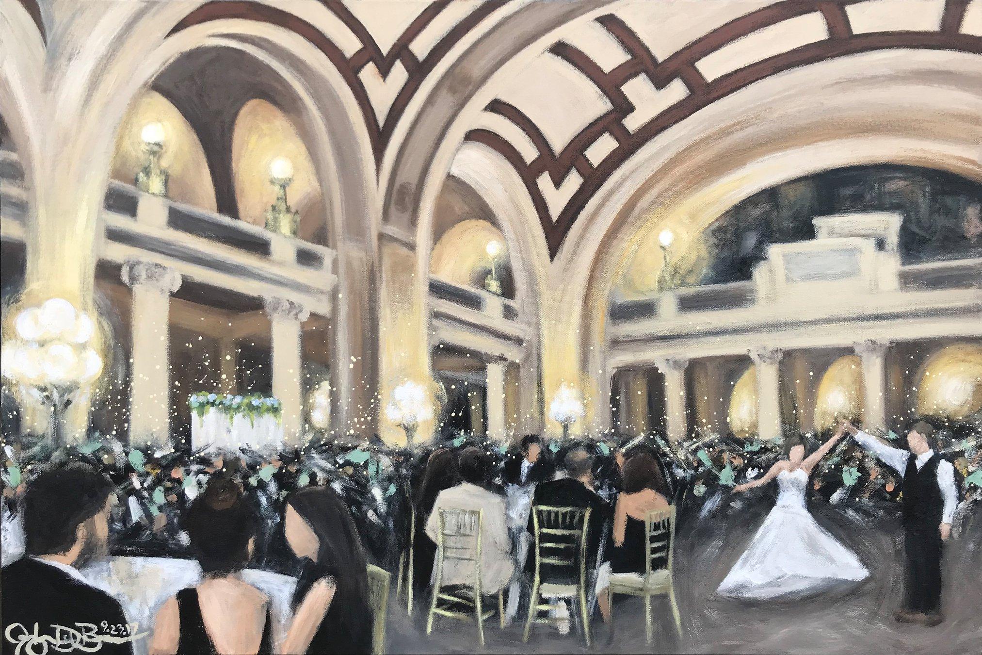Live Wedding Painting // by Cleveland Event Painter Jacqueline DelBrocco //  The Old Courthouse  // Cleveland, OH //24x36in acrylic on canvas // Source photo cred for bride and groom portrait: One Red Door Photography