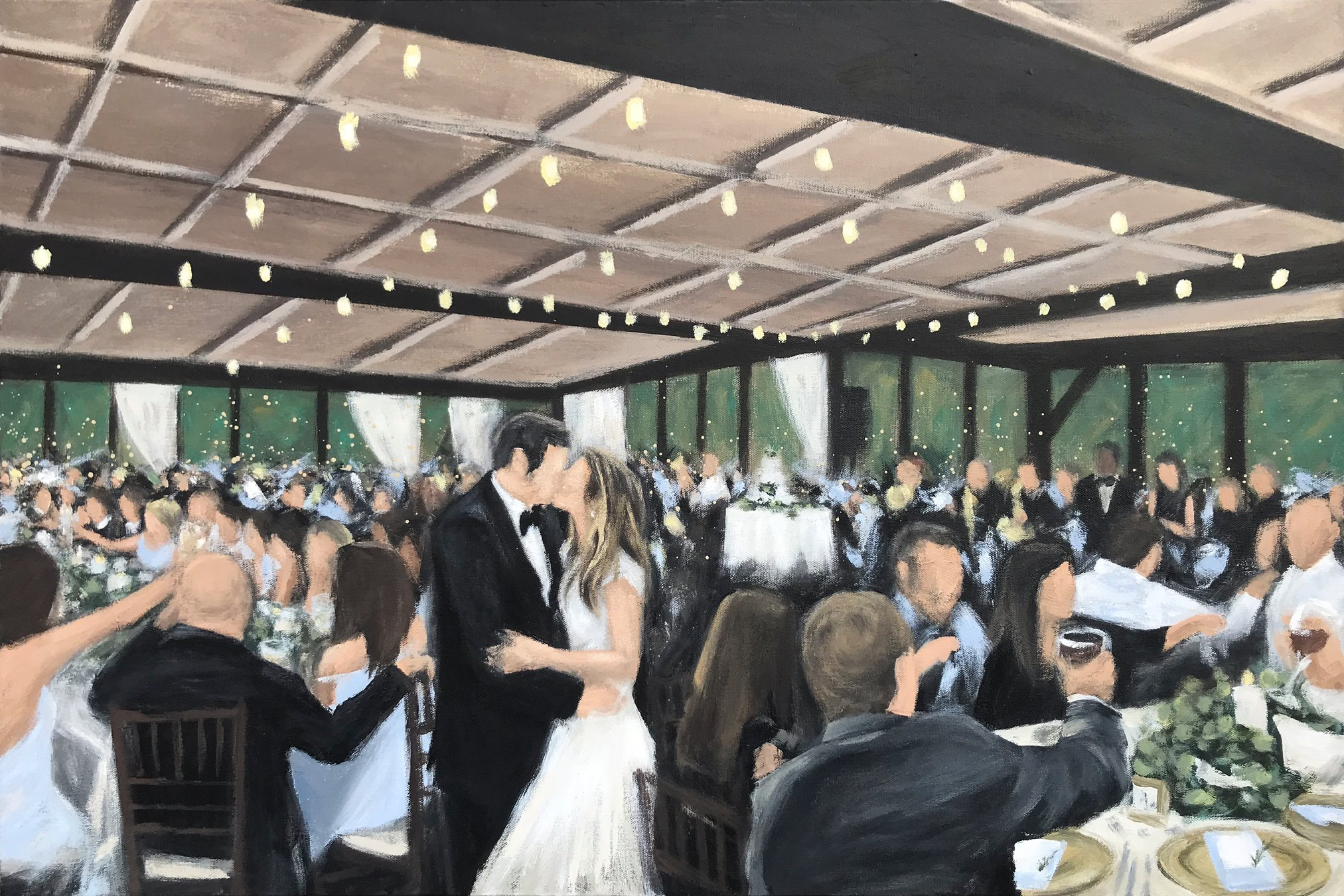 Live Wedding Painting // by Cleveland Event Painter Jacqueline DelBrocco // The Club at Hillbrook  // Chagrin Falls,OH //24x36in acrylic on canvas // Source photo cred for bride and groom portrait: Emily Millay Photography