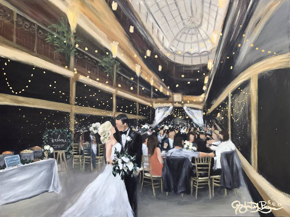 Live Wedding Painting // by Cleveland Event Painter Jacqueline DelBrocco //  Hyatt Regency at the Cleveland Arcade  // Cleveland, OH //30x40in acrylic on canvas // Source photo cred for bride and groom portrait: Captured with Love Photography