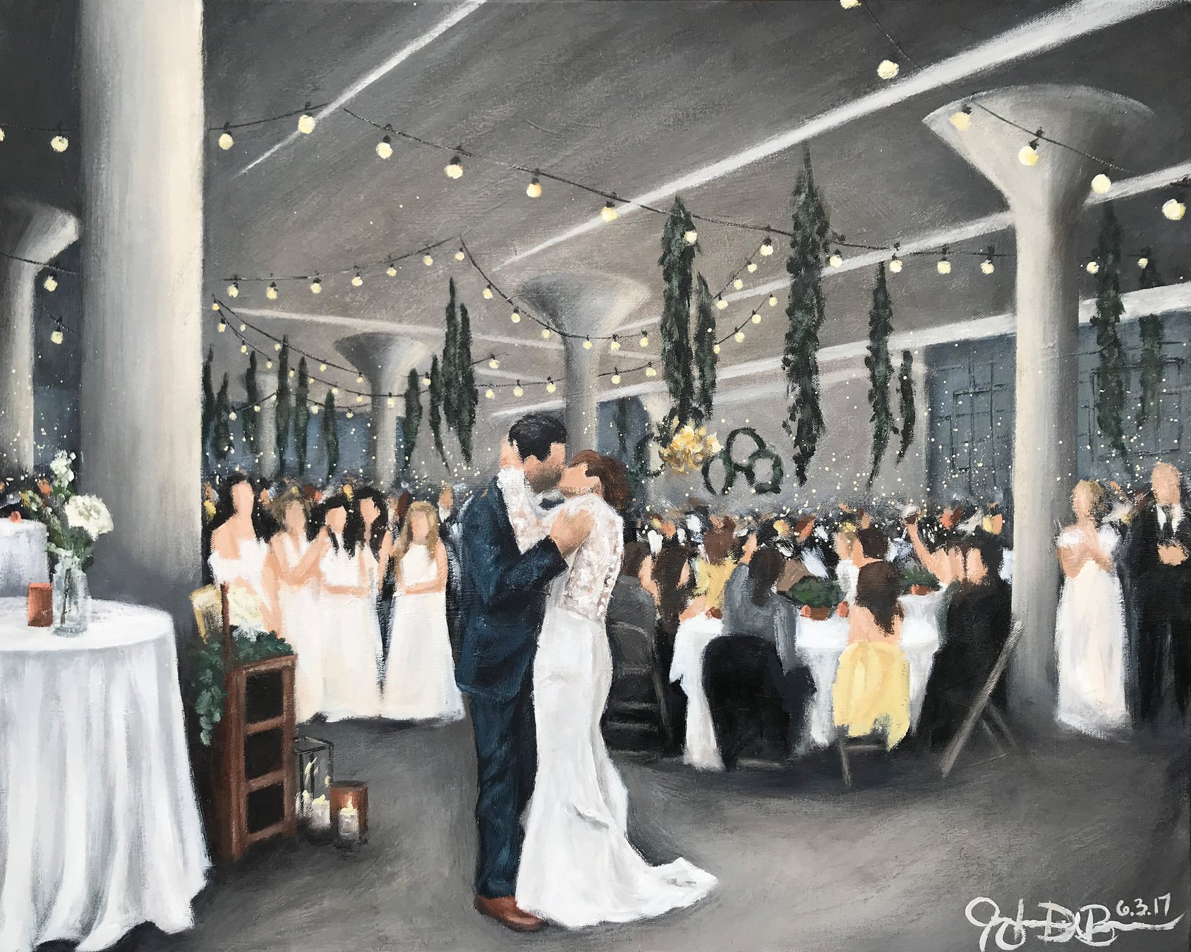 Live Wedding Painting // by Cleveland Event Painter Jacqueline DelBrocco //  The Lake Erie Building  // Lakewood, OH //24x30in acrylic on canvas // Source photo cred for bride and groom portrait: Suzuran Photography