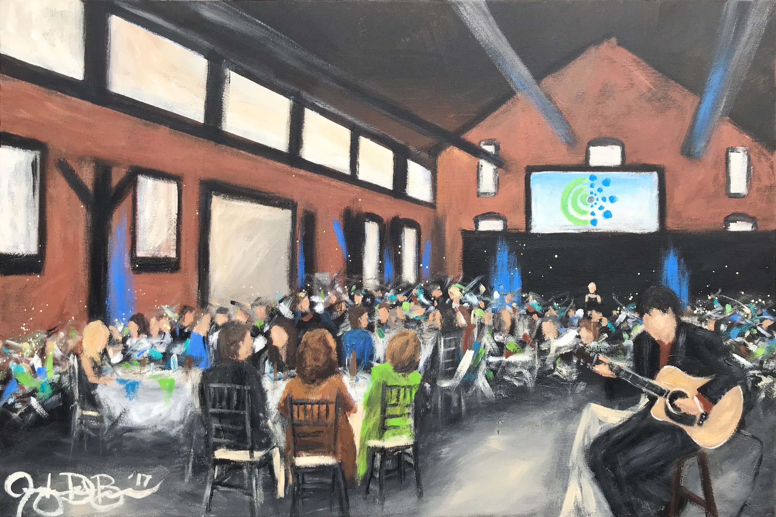Live Event Painting of the 2017 Cleveland Hearing and Speech Center Benefit at TENK on the West Bank of the Flats // by Cleveland Event Painter Jacqueline DelBrocco // 24x36in acrylic on canvas