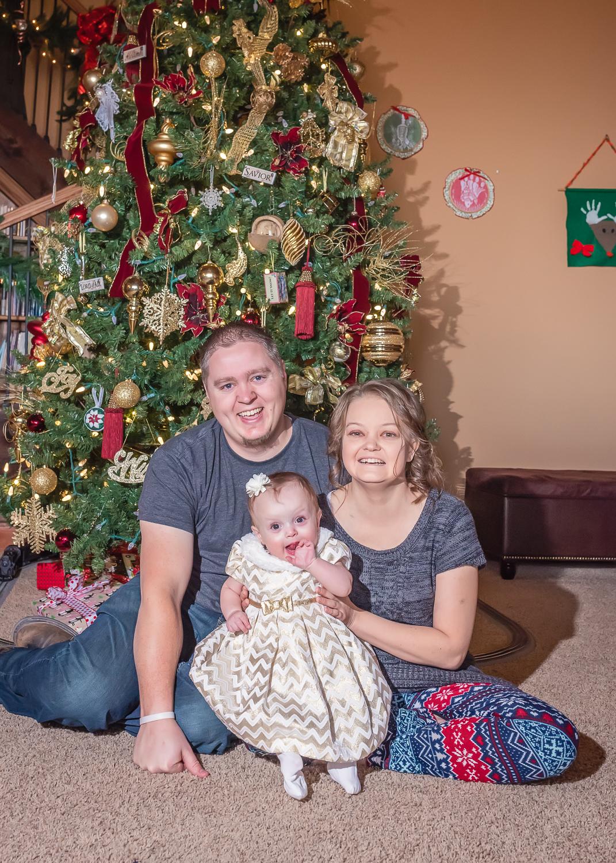 LDS Family Portrait, Christmas Portrait, Christmas Tree Family Photo, In-Home Portrait Session, LDS Photographer
