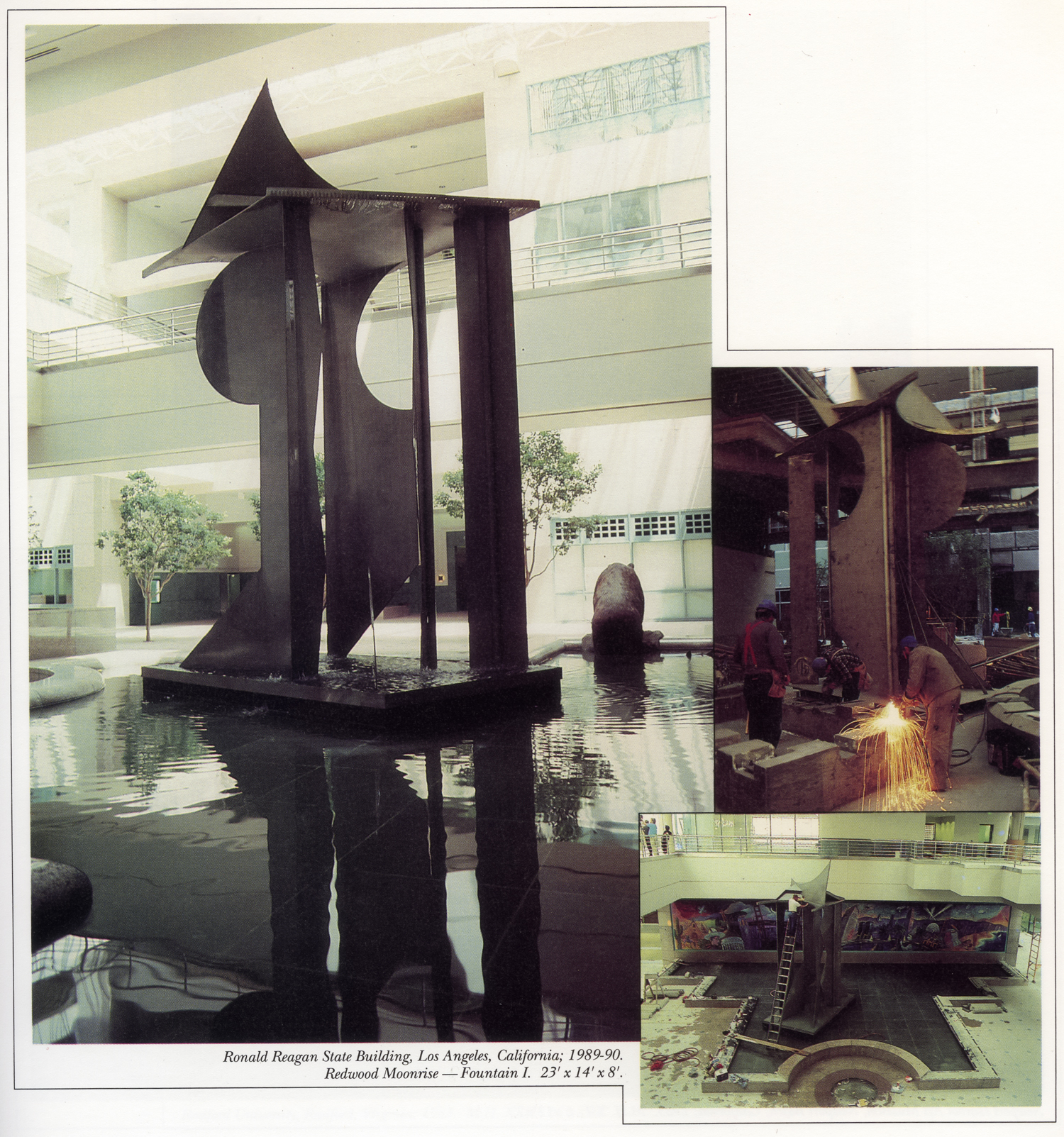 Ronald Reagan State Building, Los Angeles, California; 1989-90.<br>Redwood Moonrise – Fountain I.  23' x 14' x 8'.