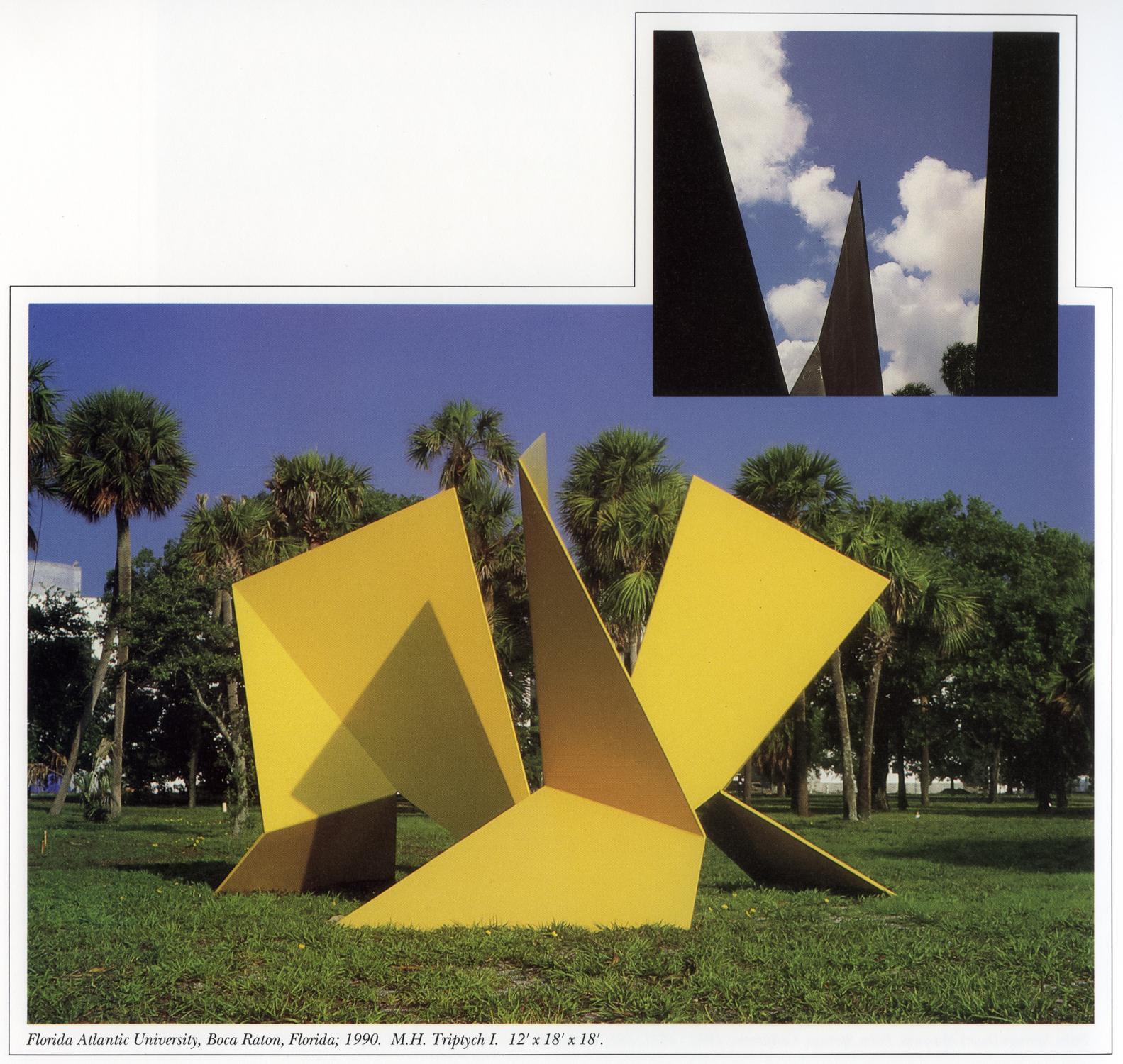 Florida Atlantic University, Boca Raton, Florida; 1990.  M.H. Triptych I.  12' x 18' x 18'.