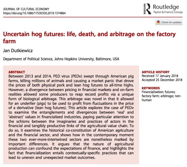 5/24/2019: My article about how finance capital shapes the value of industrially-produced animal life and death is online now at the  Journal of Cultural Economy .