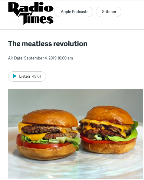 "9/04/2019: As a guest on Radio Times on WHYY, NPR's Philadelphia member station, I was able to share insights from some of my research on the political economy of both conventional and ""alternative"" meat production."