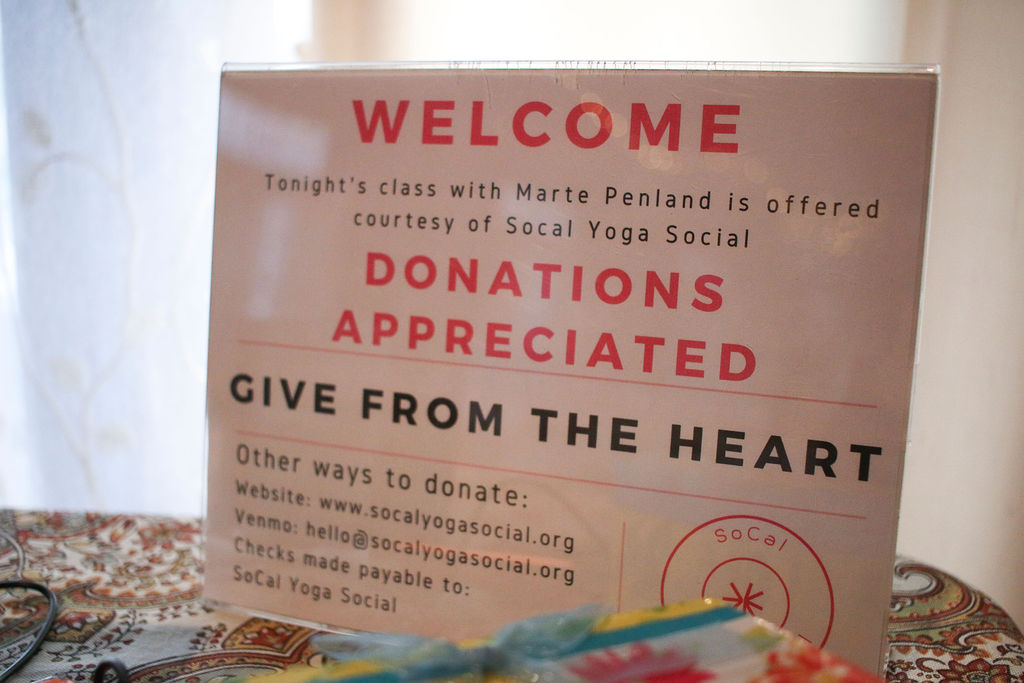 YOU!!  Every dollar donated at our Yoga Soicals goes towards keeping our mission alive. We want to ensure everyone has the opportunity to practice yoga regardless of their ability to pay for it. Every dollar counts! Thank you