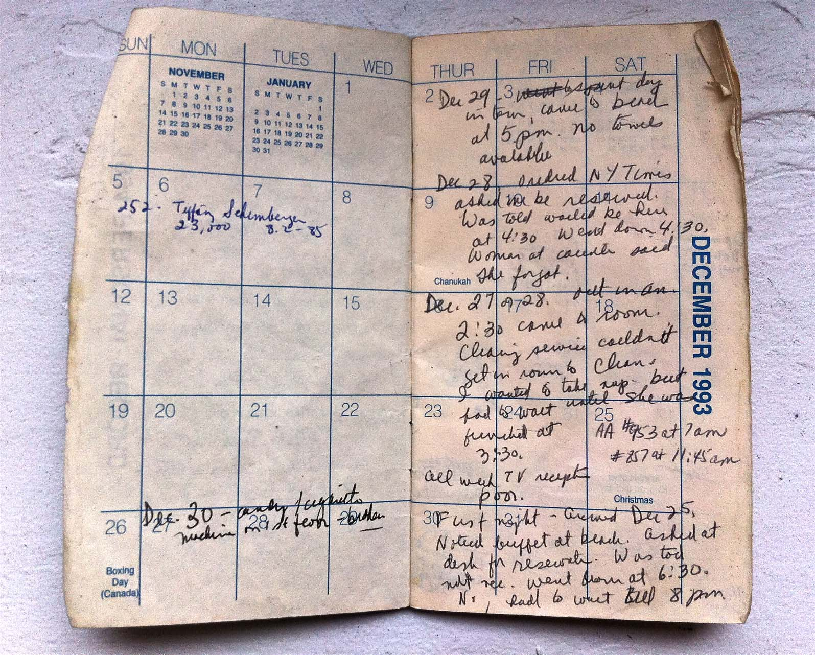 This datebook is a found object that inspired the play. The text on the right page became lyrics for a song with music by Rick Burkhardt, below.