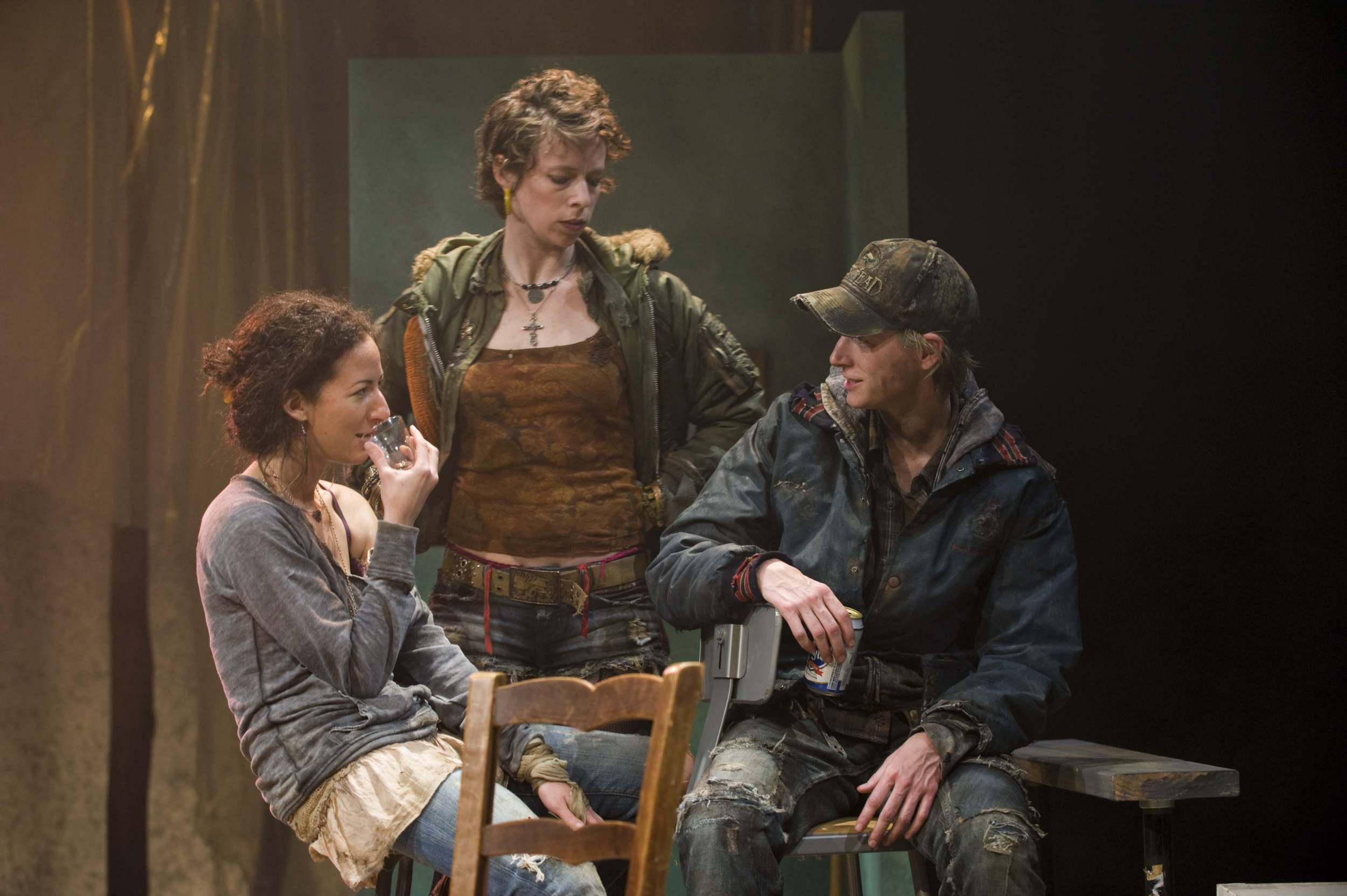 L-R  Kristina Valada-Viars, Jessica Hudson, and Kelli Simpkins in the About Face Theatre Production directed by Bonnie Metzgar. Costumes by David Hyman, Set Design by Tom Burch, Lighting Design by Lee Fiskness.   Photo by Michael Brosilow.