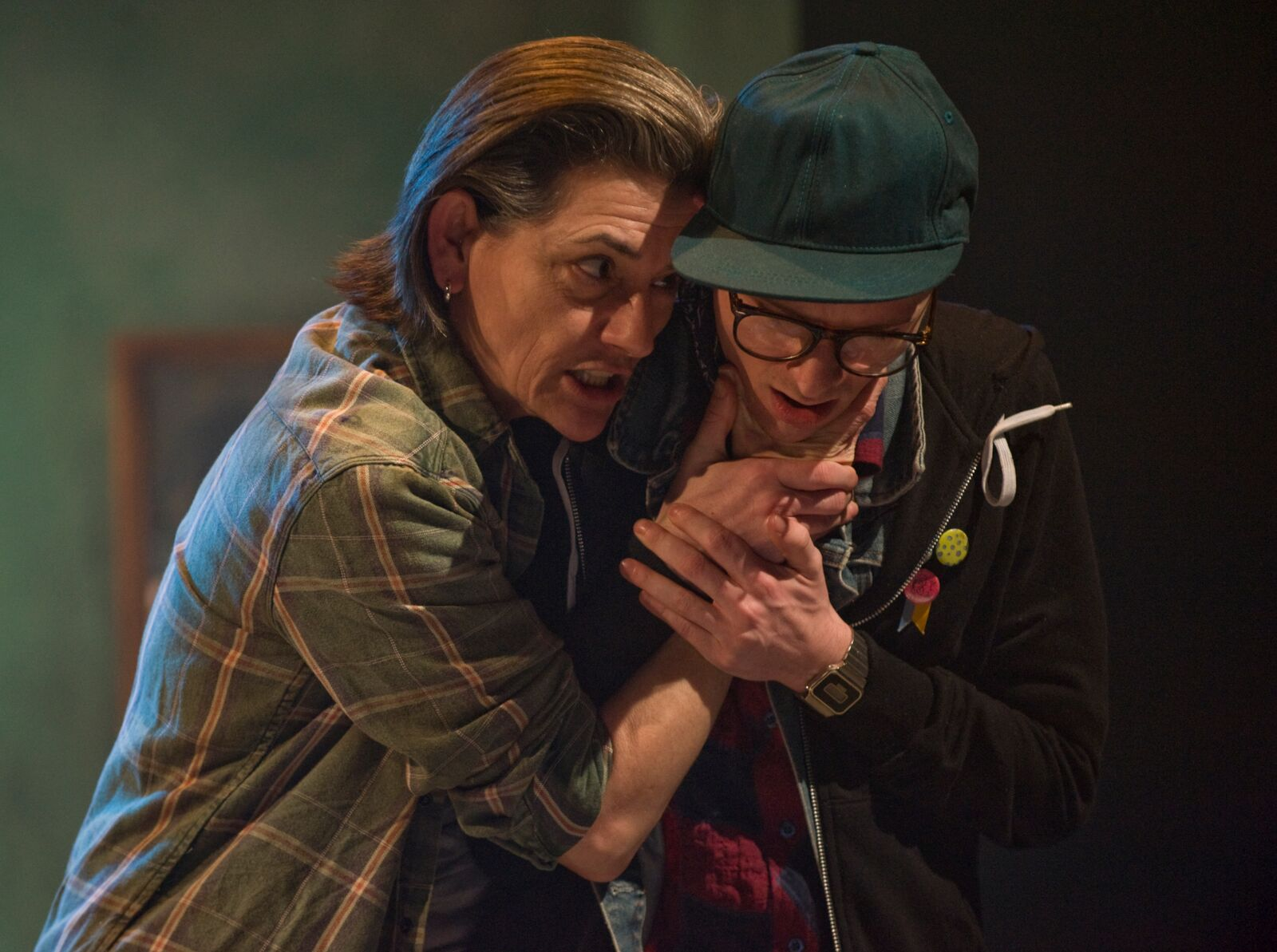 L-R   Janet Ulrich Brooks and Matthew Sherbach in the About Face Theatre Production directed by Bonnie Metzgar.Costumes by David Hyman, Set Design by Tom Burch, Lighting Design by Lee Fiskness.  Photo by Michael Brosilow.