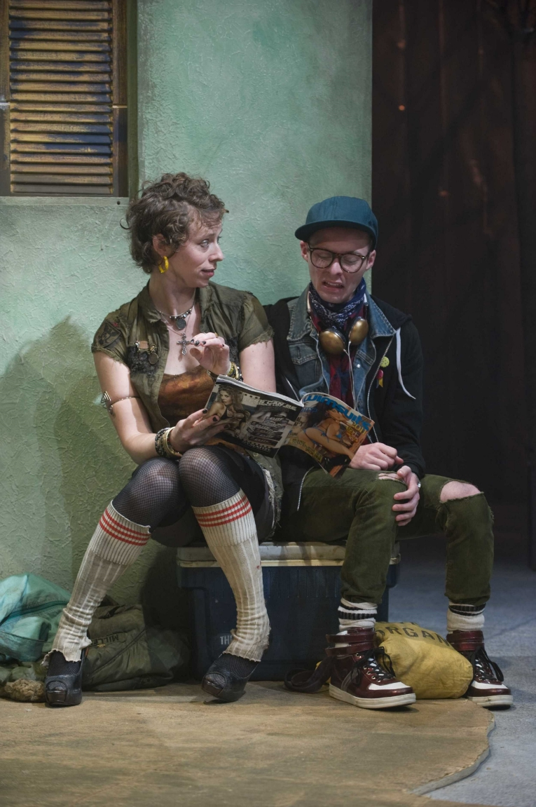 L-R   Jessica Hudson and Matthew Sherbach in the About Face Theatre Production directed by Bonnie Metzgar. Costumes by David Hyman, Set Design by Tom Burch, Lighting Design by Lee Fiskness.   Photo by Michael Brosilow.