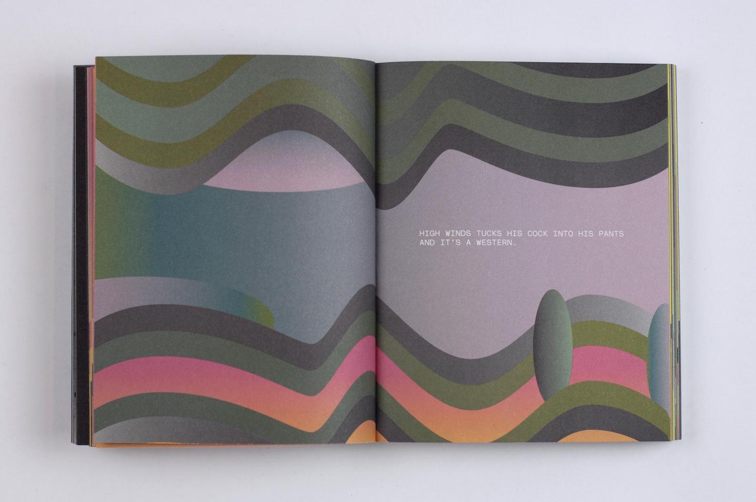 Spread from  High Winds. Text: Sylvan Oswald. Graphic design: Jessica Fleischmann. Photo: still-room.