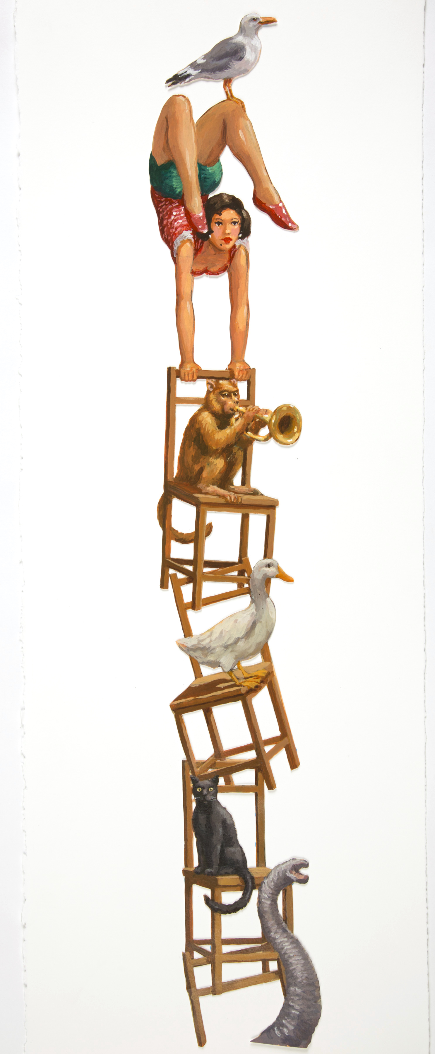 High quality reproduction of original design drawing of the Chair Balancing Act from the Spiegel Automata Commission. Print size is 29 x 76 cm including the white border. No animals were injured modelling for this image.