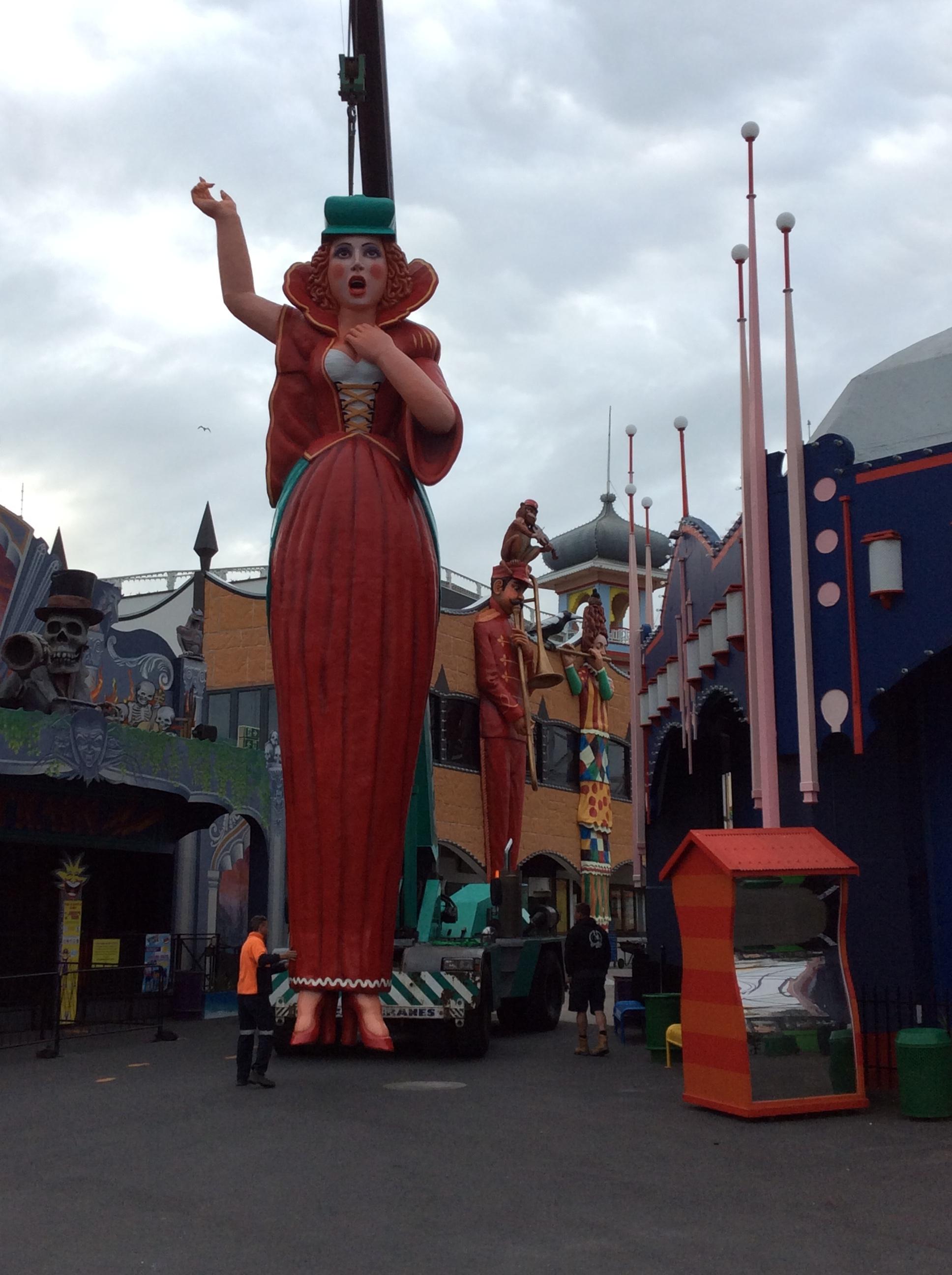Diva figure being installed, Luna Park Melbourne, September 2015.