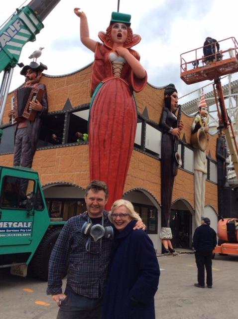 Mark Ogge and Luna Park CEO Mary Stuart at the completion of the installation, Luna Park Melbourne, September 2015