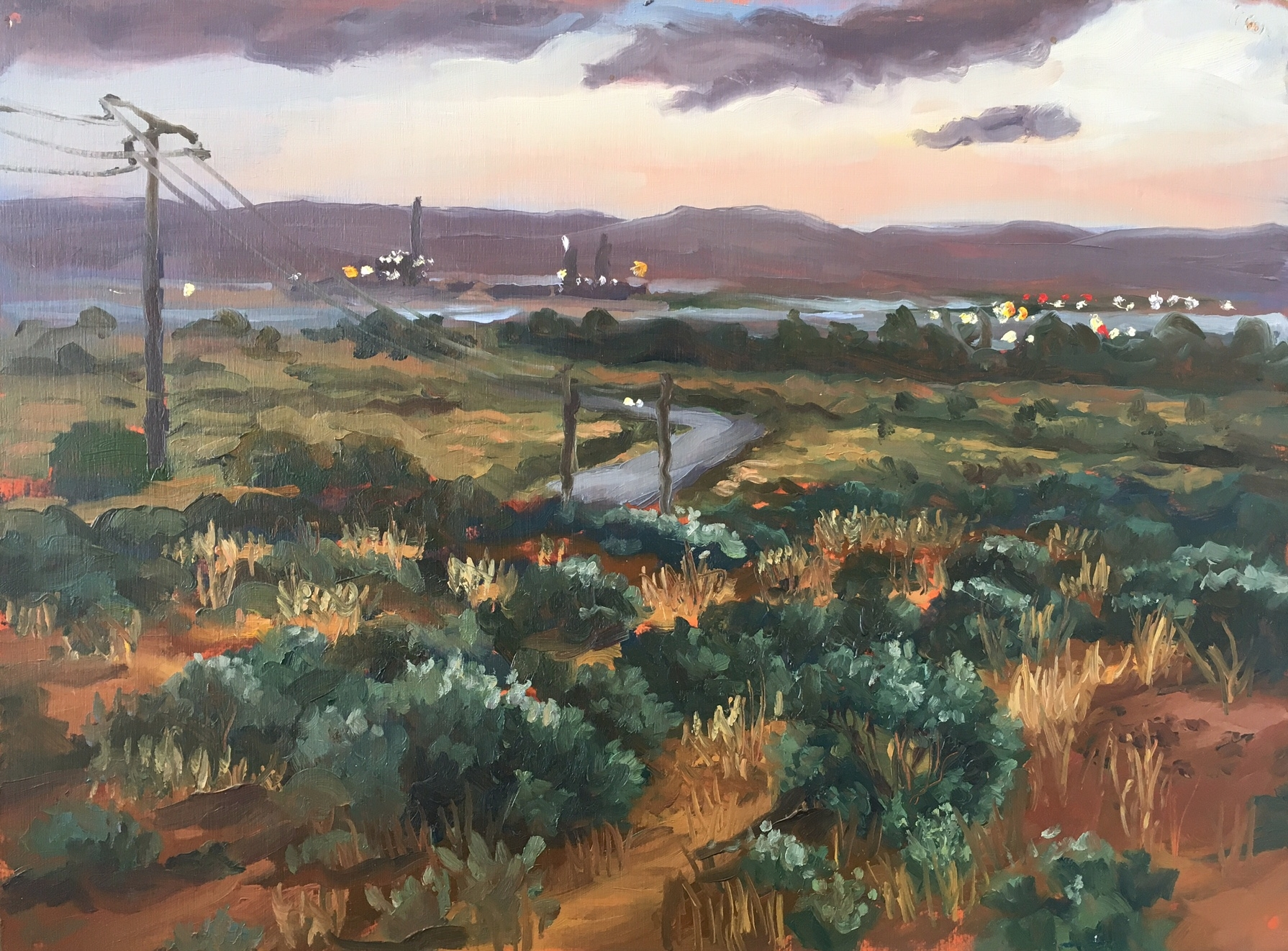Port Augusta from foothills of the Flinders Ranges, 30 x 40 cm, Oil on panel, 2013