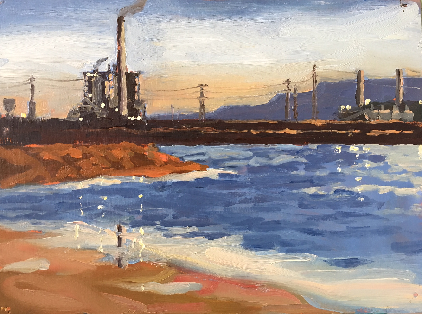 Northern power station from the cooling ponds, Oil on panel, 30 x 40 cm, 2013