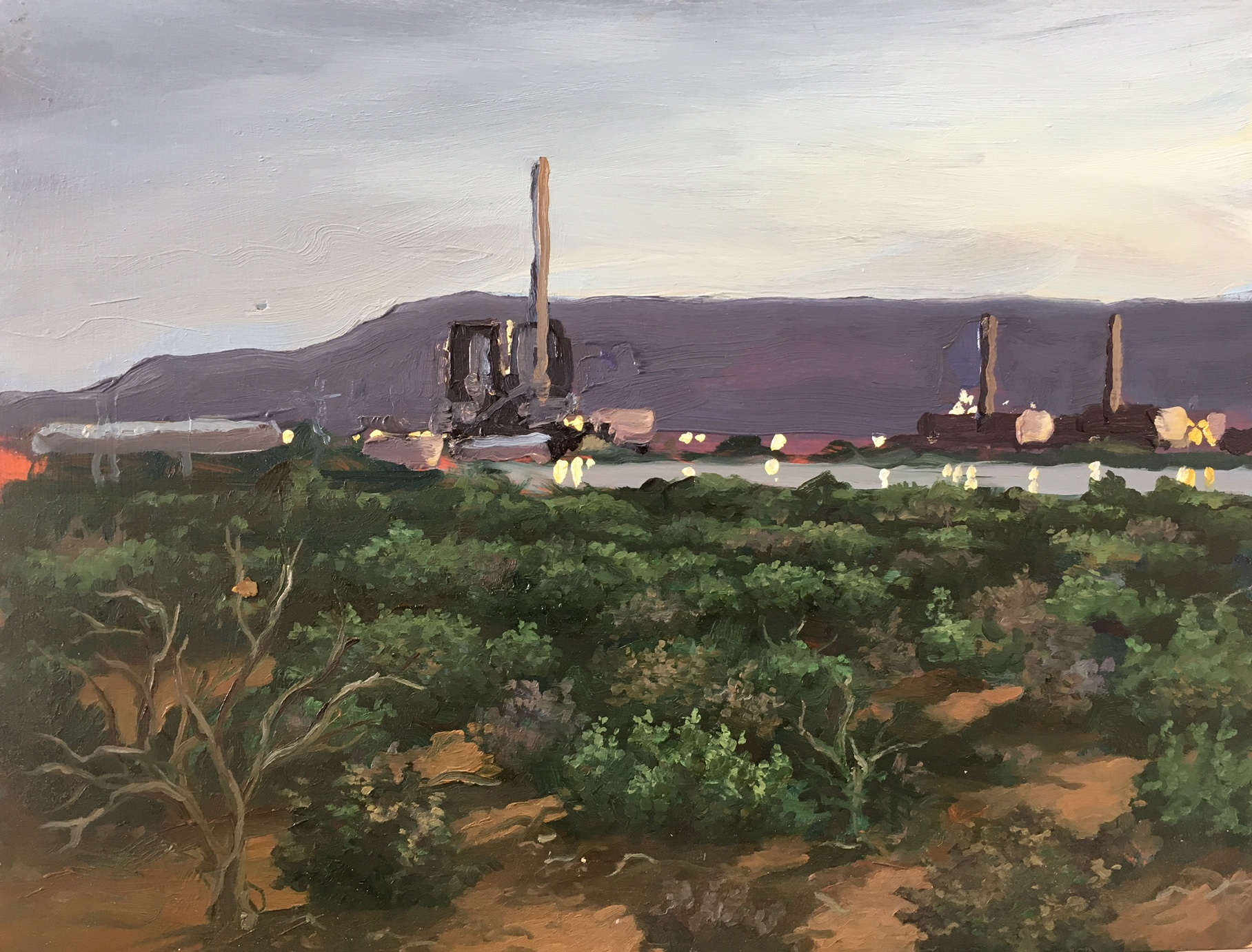 Power Stations from Princess Highway, oil on panel, 34 x 26 cm