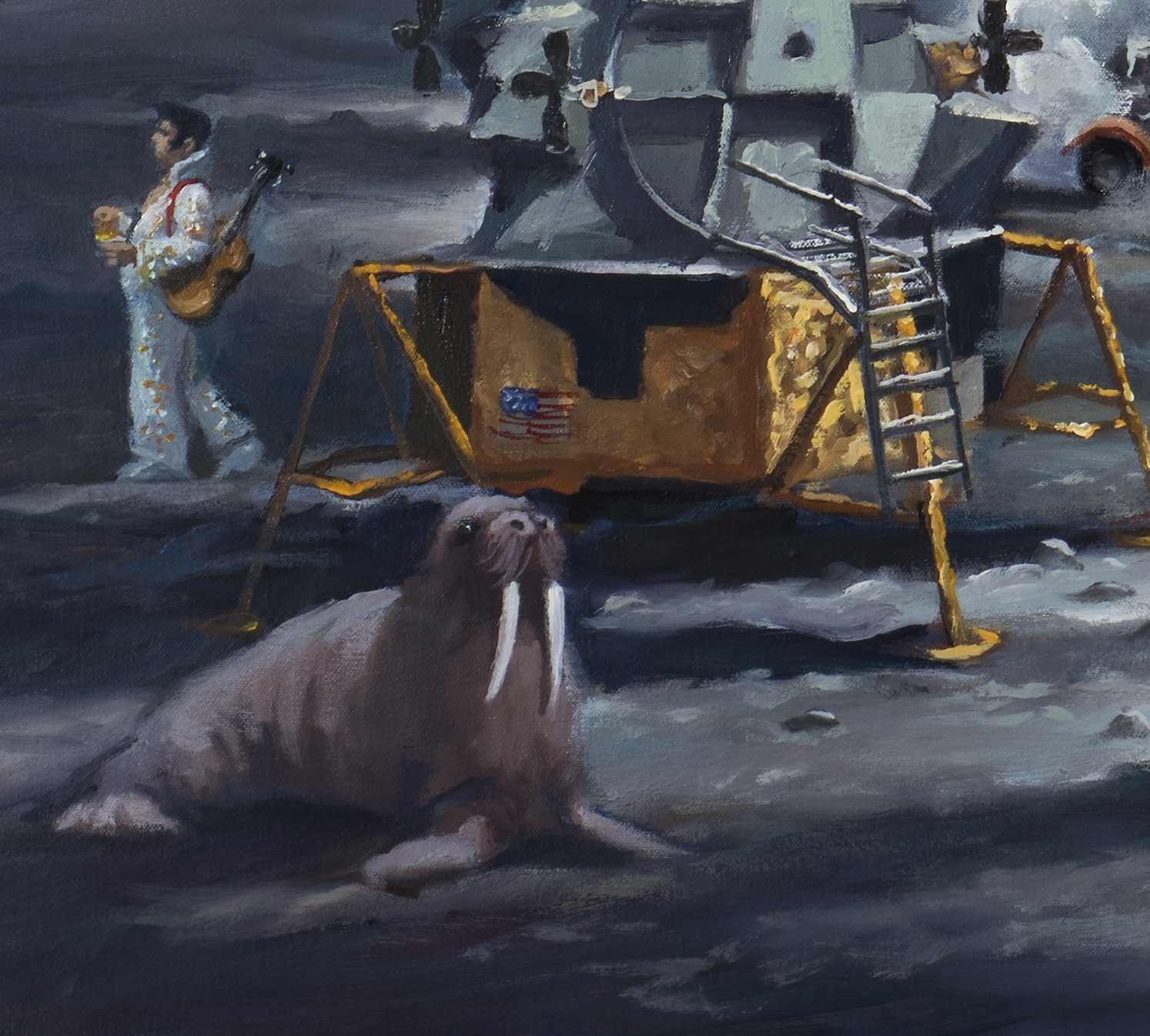American dream, detail, Elvis and walrus