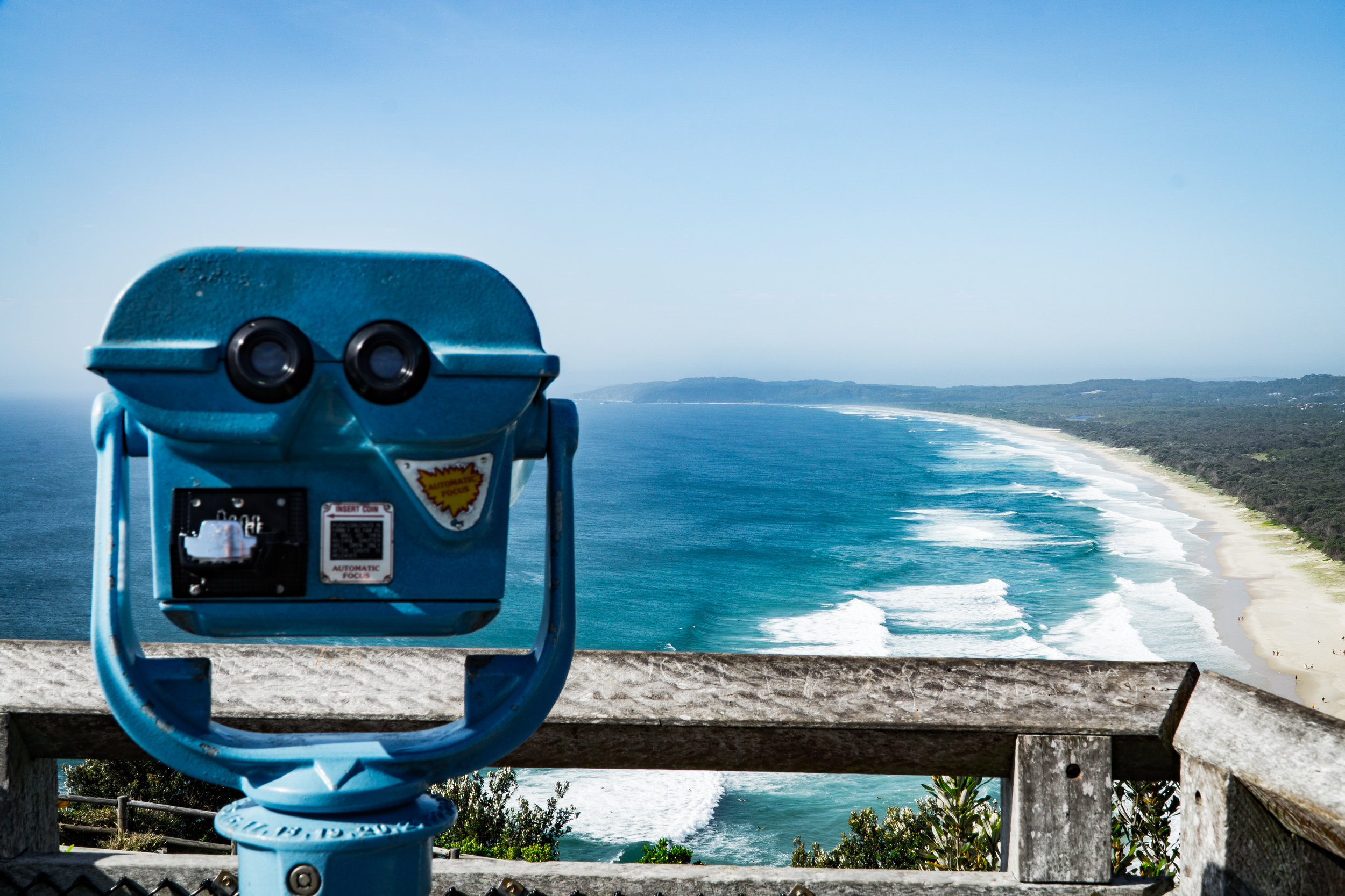 Looking out over the other side of Byron Bay, about to make the descent through the Cape Byron Walking Track.