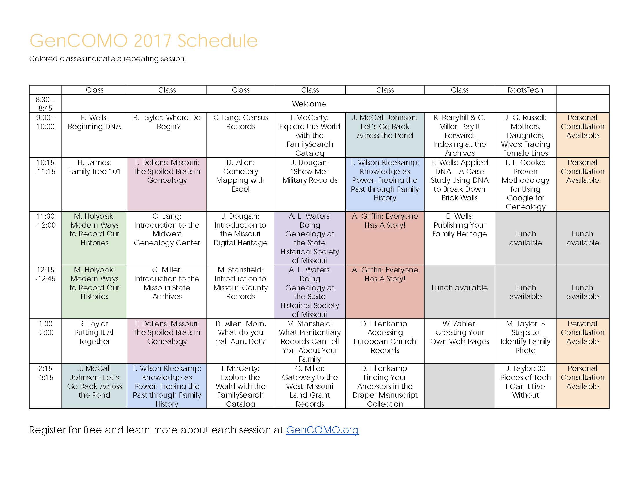 The redesigned conference schedule with improved readability and visual cues, available on the site as a printable PDF for those who prefer hardcopies