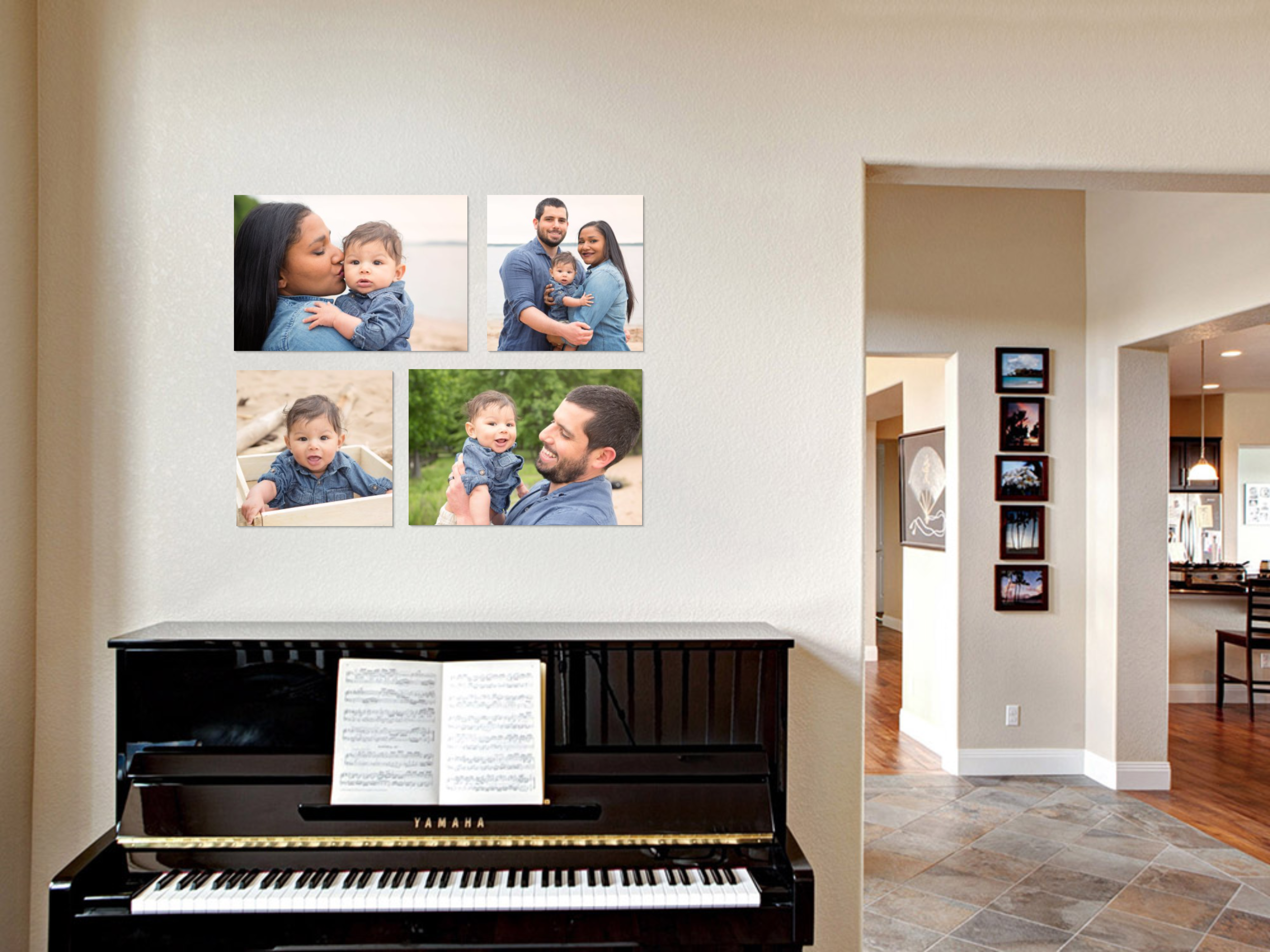 Family wall gallery in living room above piano